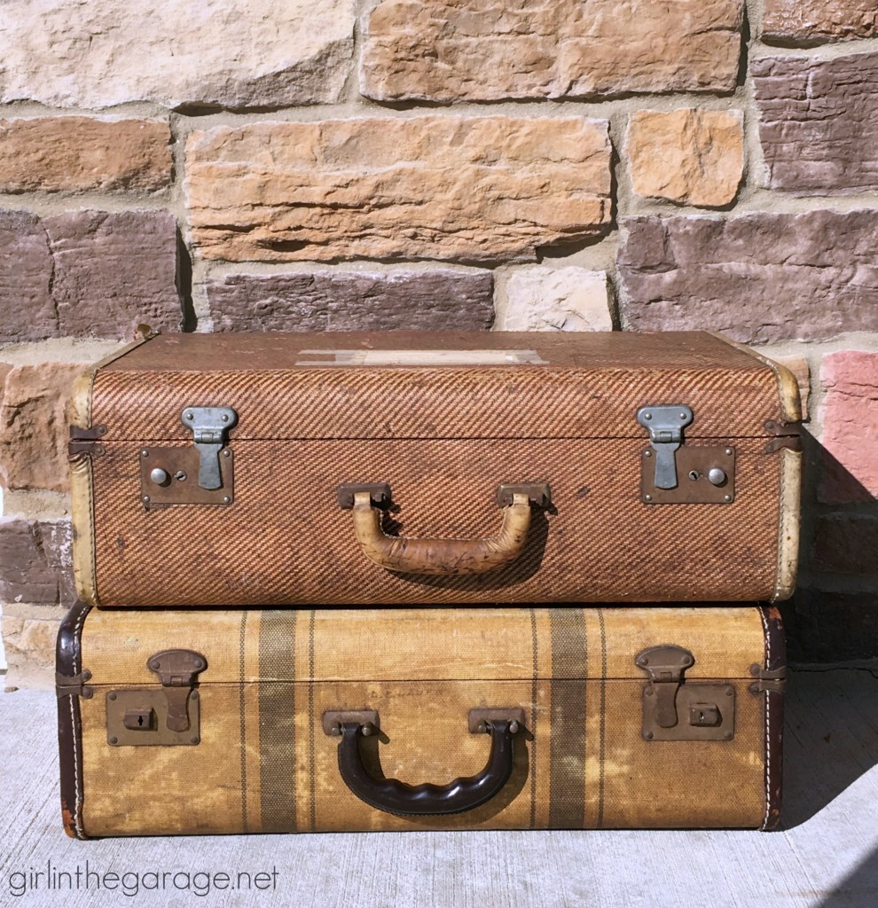 Antique suitcases and other thrifty finds while treasure hunting at yard sales and Goodwill.  girlinthegarage.net