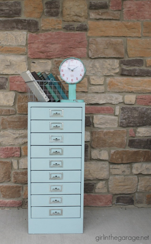 Painted Metal Cabinet Makeover in Duck Egg Chalk Paint