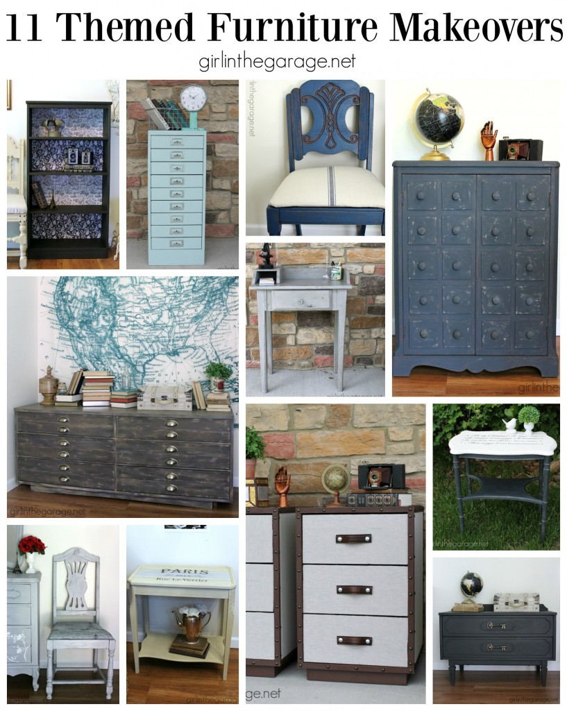 A recap of 11 themed furniture makeovers from 2015 and Themed Furniture Makeover Day.