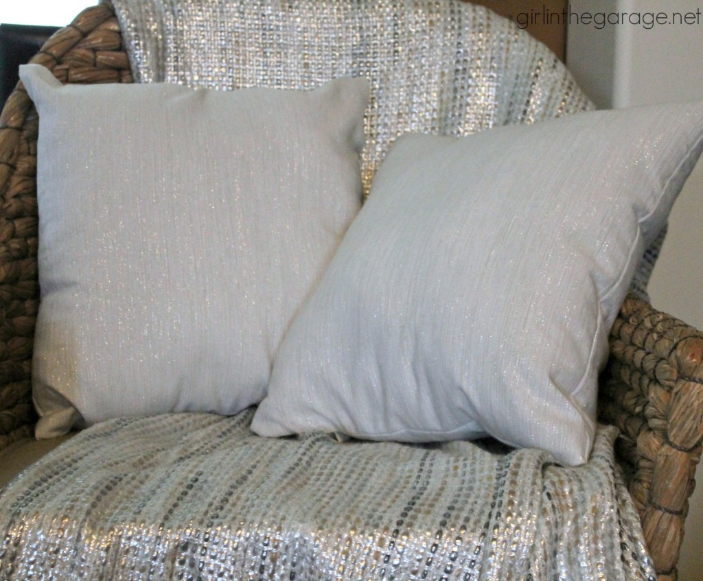 DIY pillows made from Target Threshold metallic napkins.