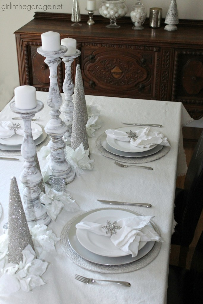 White And Silver Holiday Tablescape Girl In The Garage 174