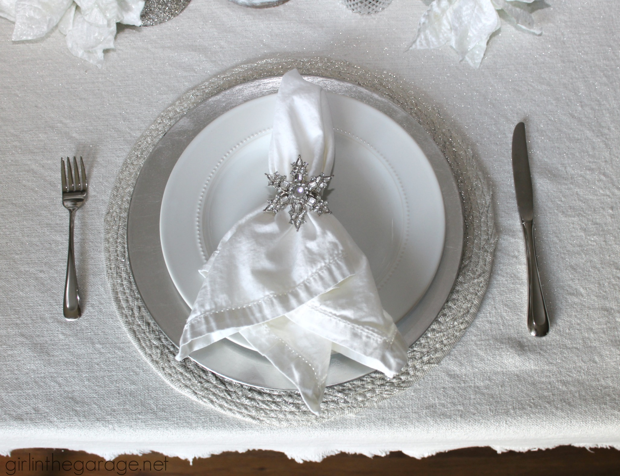 White And Silver Holiday Tablescape Girl In The Garage