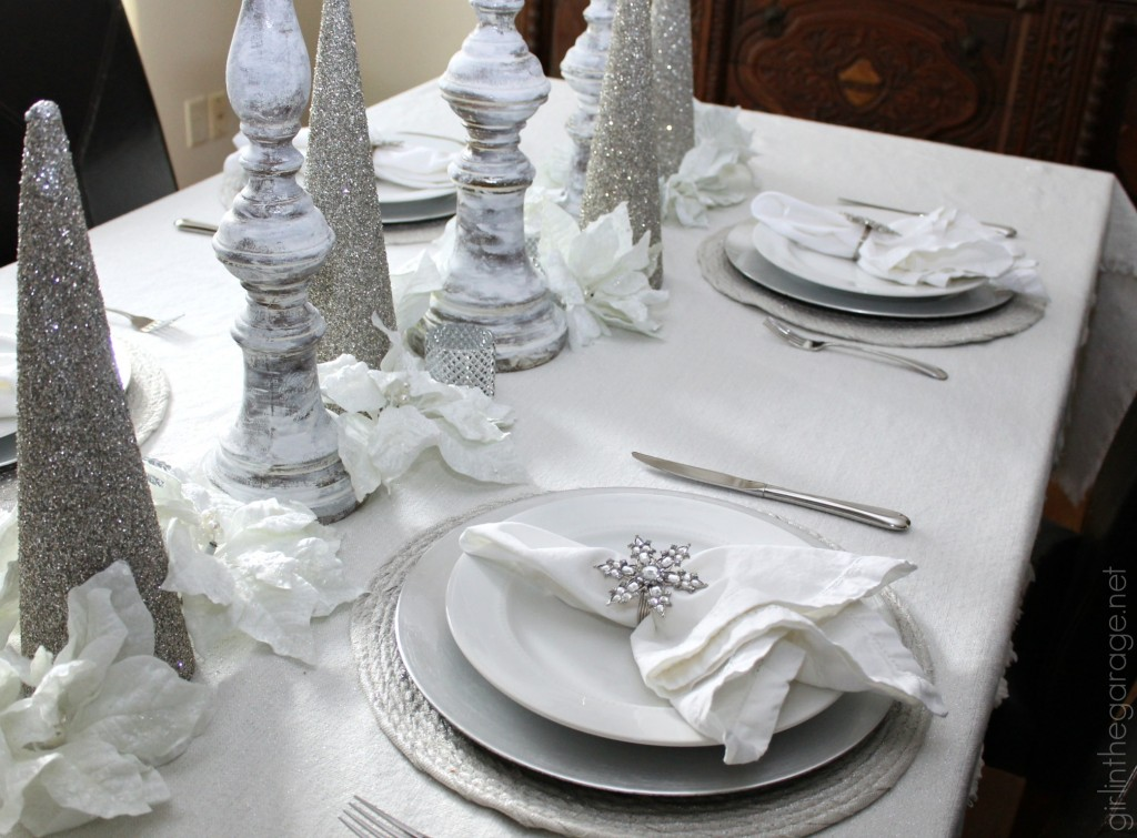 White and silver winter holiday tablescape - Home for the Holidays Christmas Tour