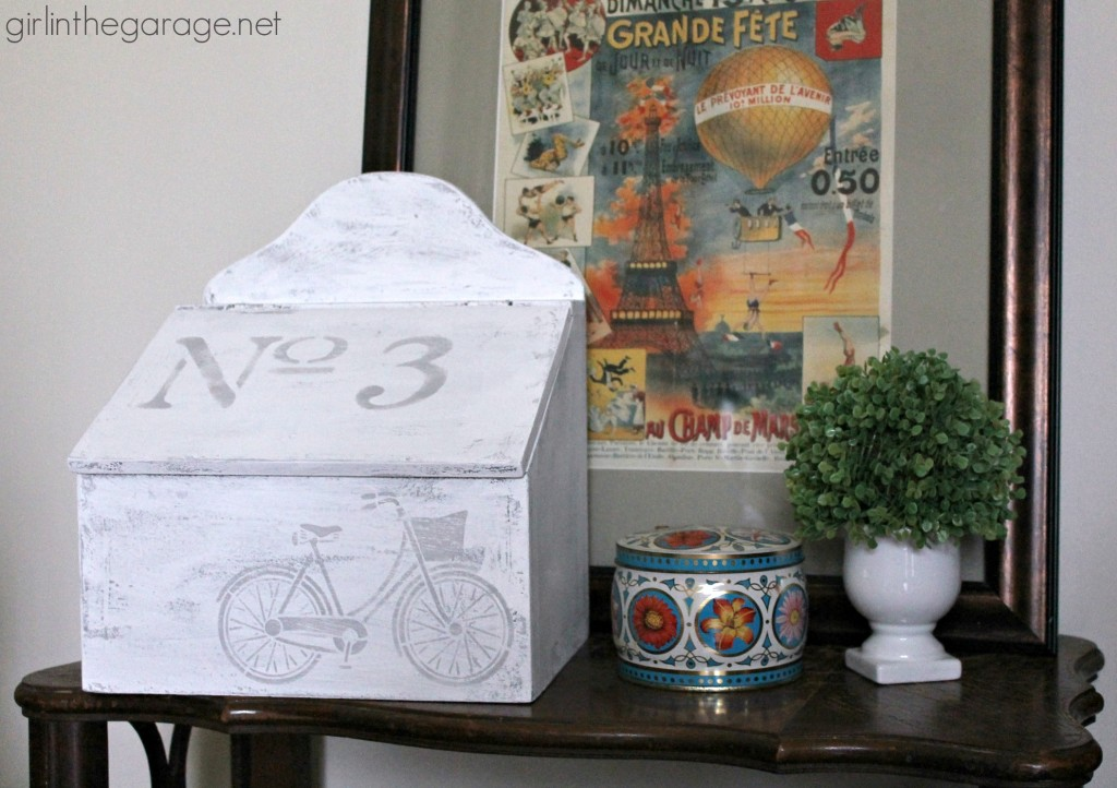 Upcycled Goodwill box makeover with Chalk Paint and stencils - Trash to Treasure by Girl in the Garage