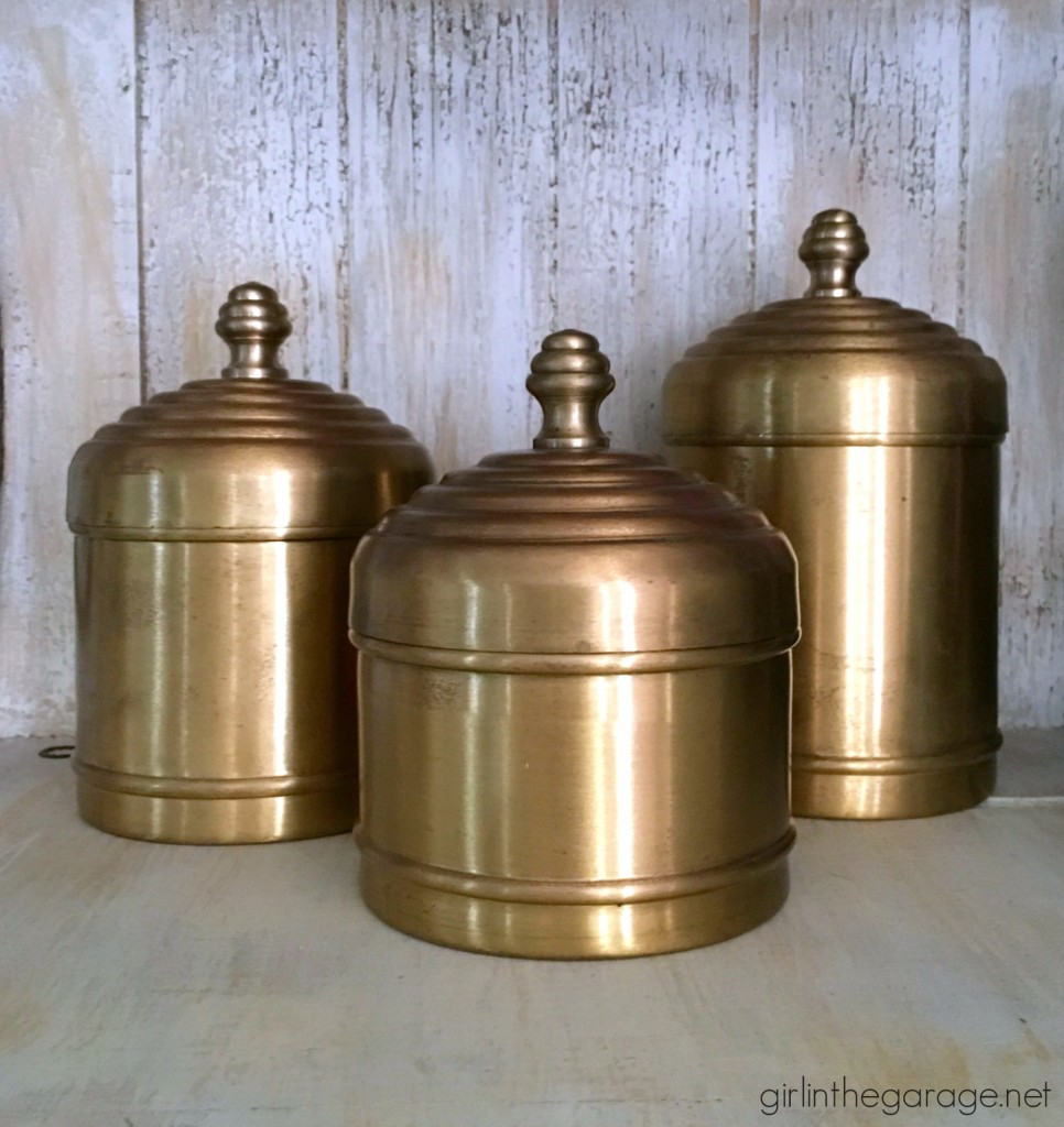 Vintage brass canisters