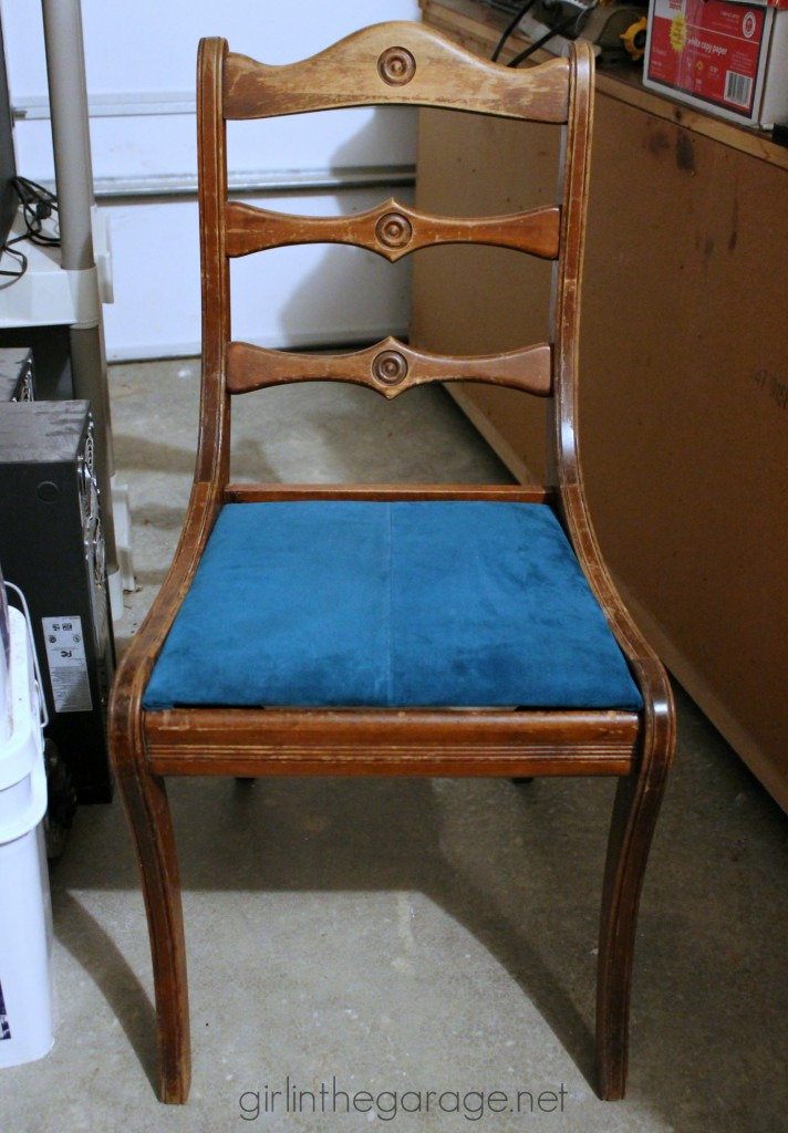 (Before) Chair makeover tutorial by Girl in the Garage - Themed Furniture Makeover