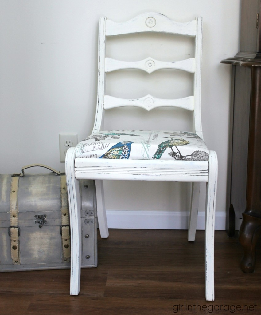 Chair makeover tutorial by Girl in the Garage - Themed Furniture Makeover
