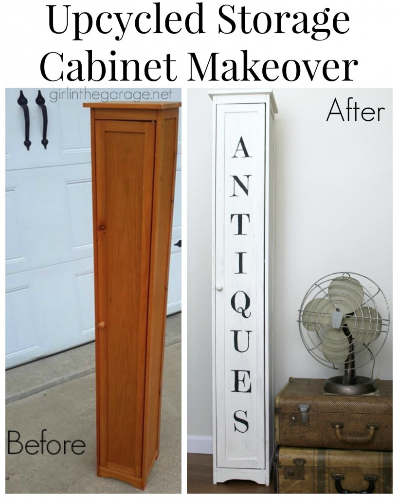 Plain to Charming: Storage Cabinet Makeover by Girl in the Garage