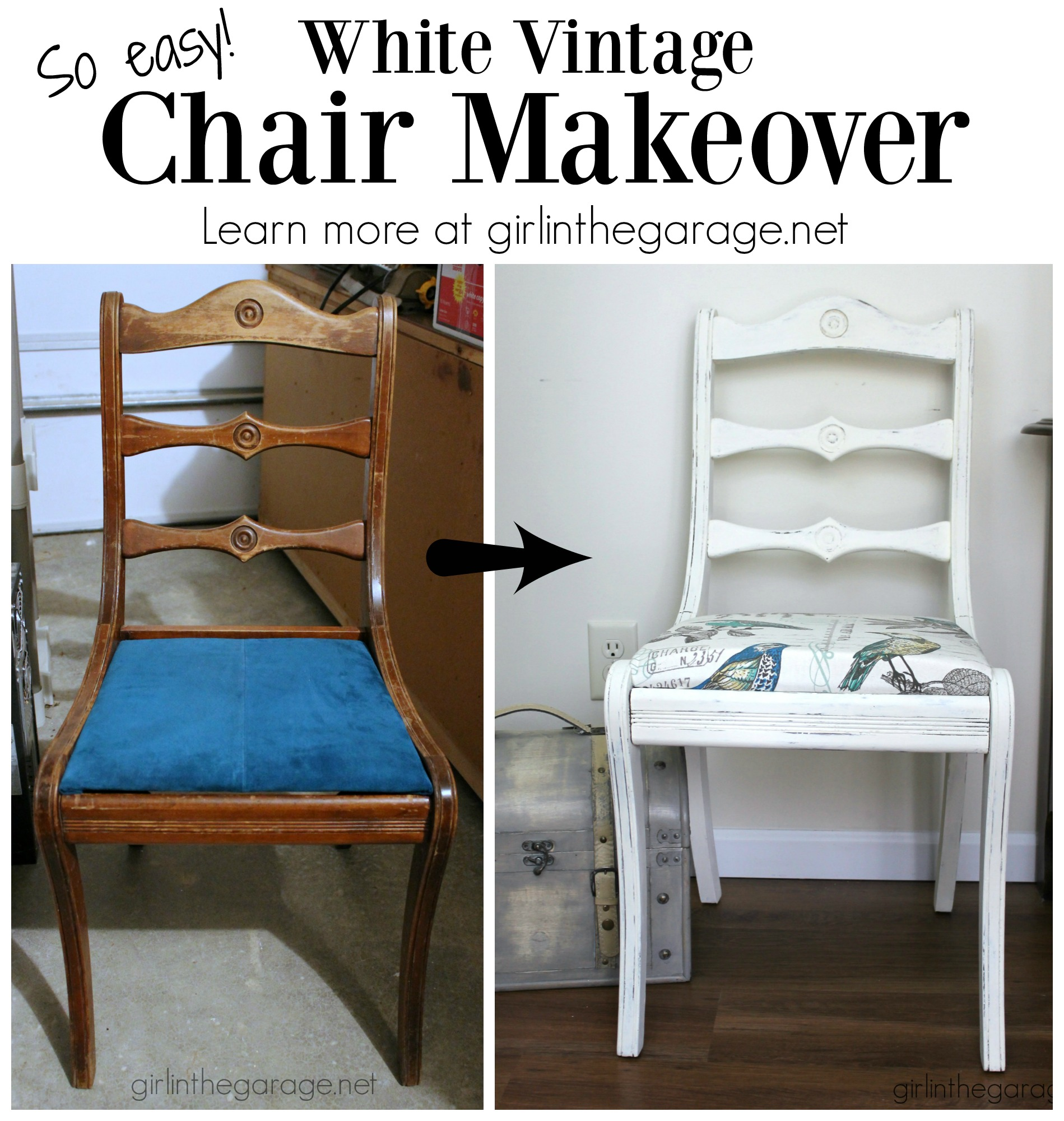 Vintage White Chair Makeover Girl In The Garage 174