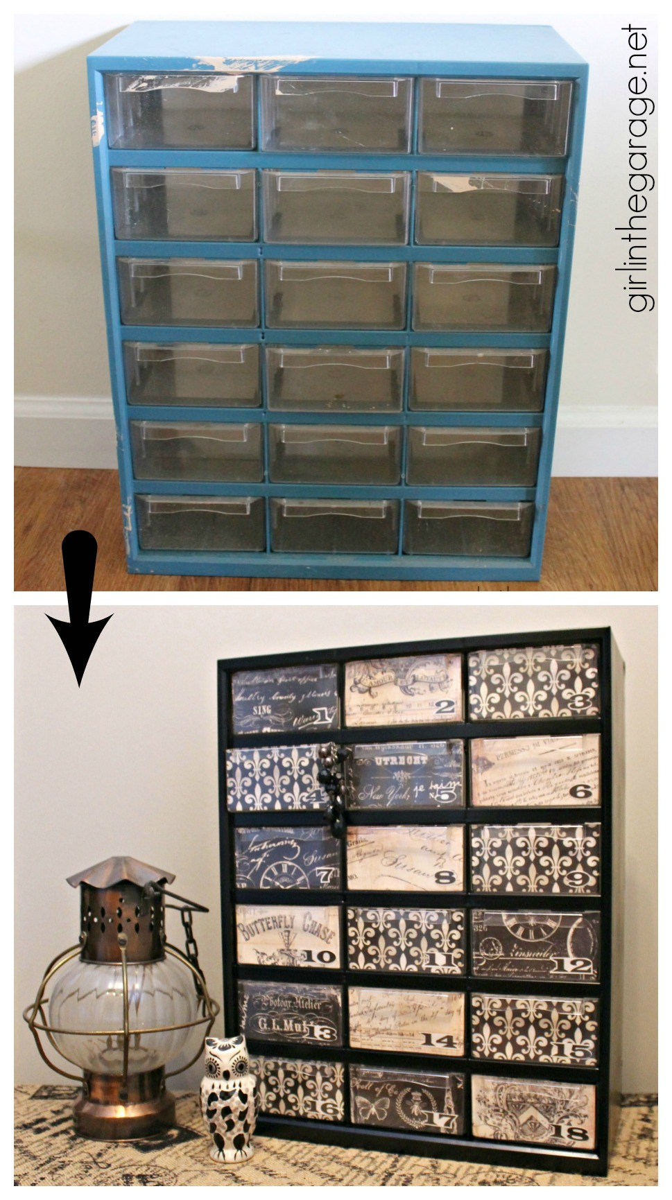 Garage Storage Organizer Makeover - Trash to Treasure - Girl in the Garage