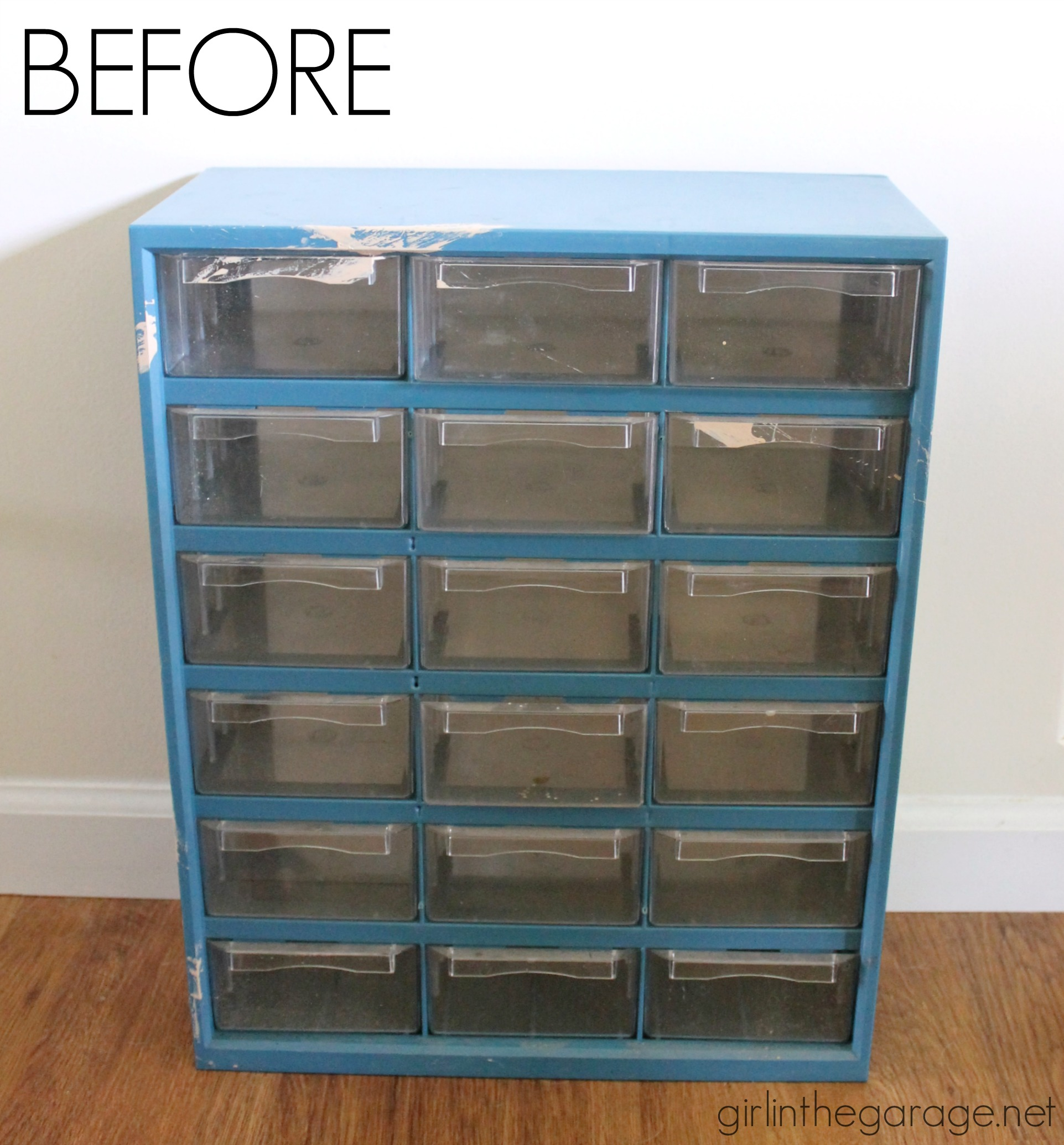 Upcycled garage storage organizer makeover - Trash to Treasure - Girl in the Garage