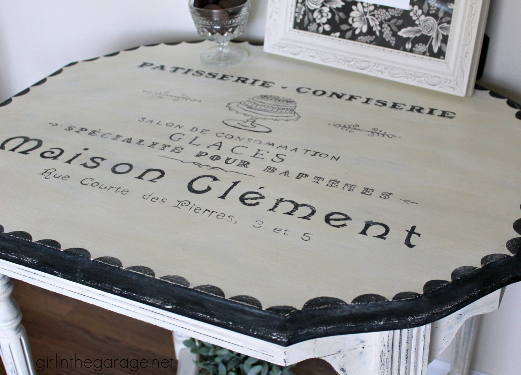 French Patisserie Table - Antique table makeover by Girl in the Garage