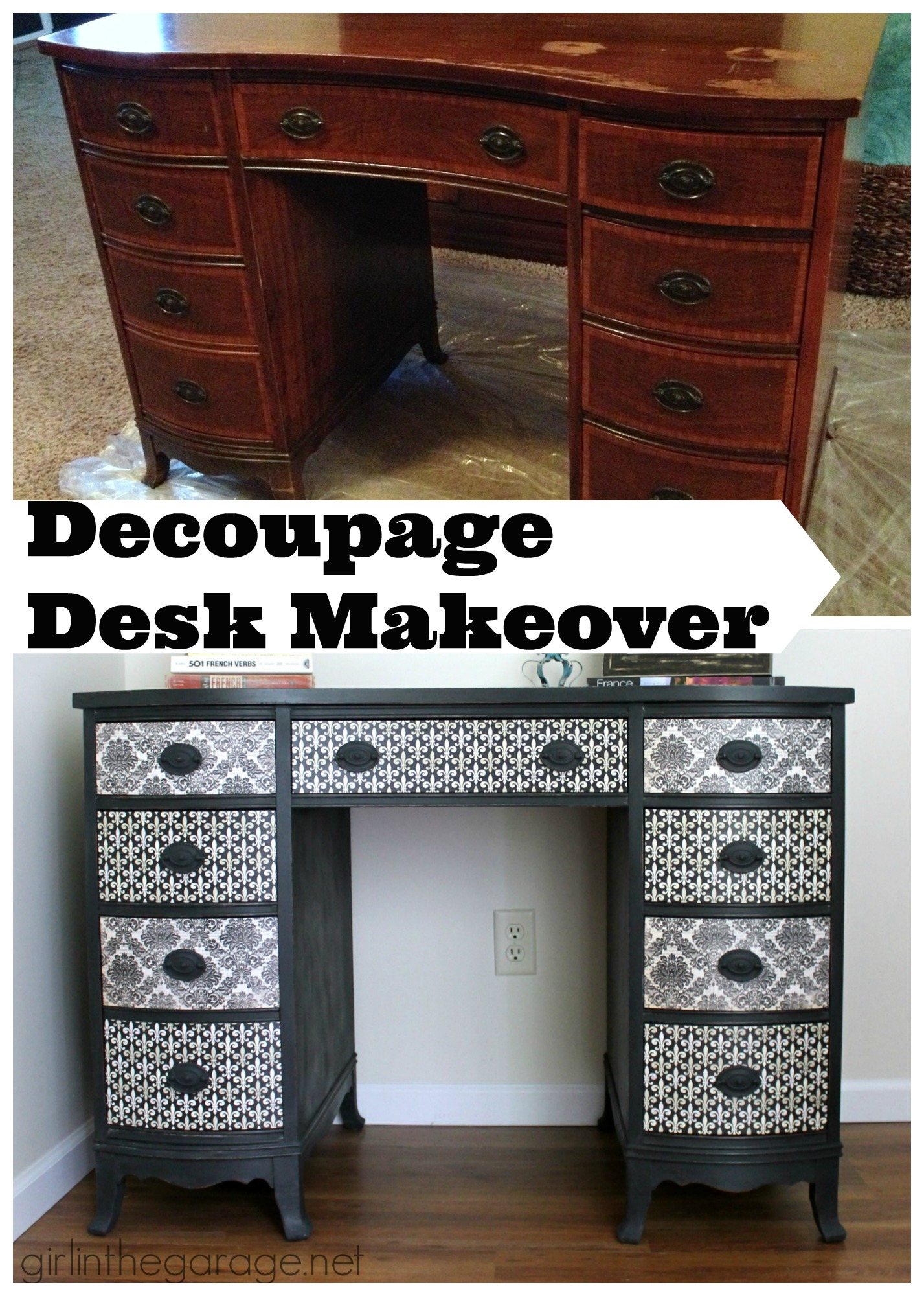 How to decoupage a vintage desk with chic French paper - step by step tutorial by Girl in the Garage
