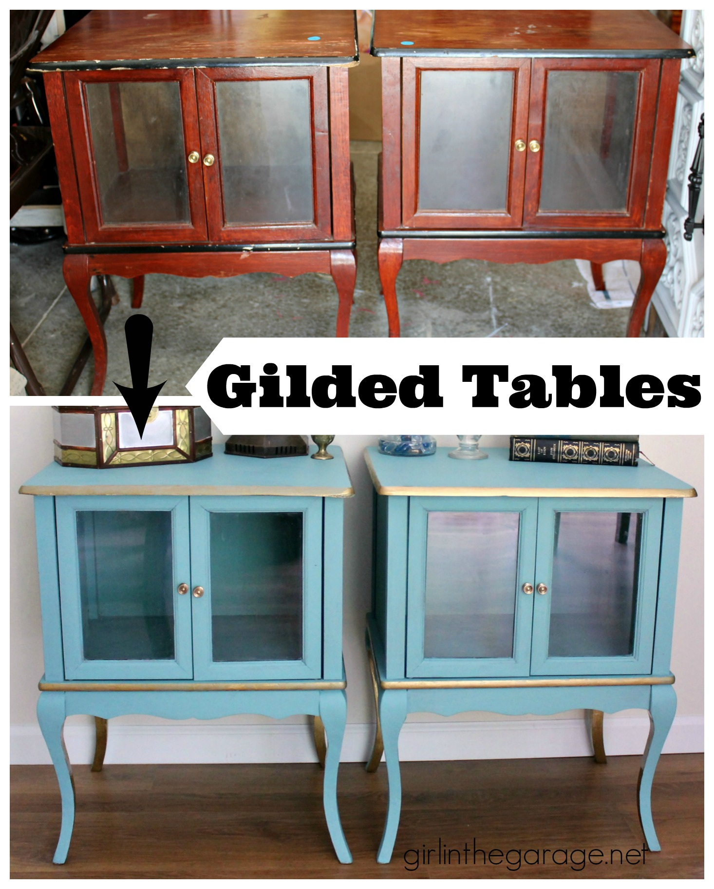Gilded Tables: Turquoise and Gold Makeover by Girl in the Garage
