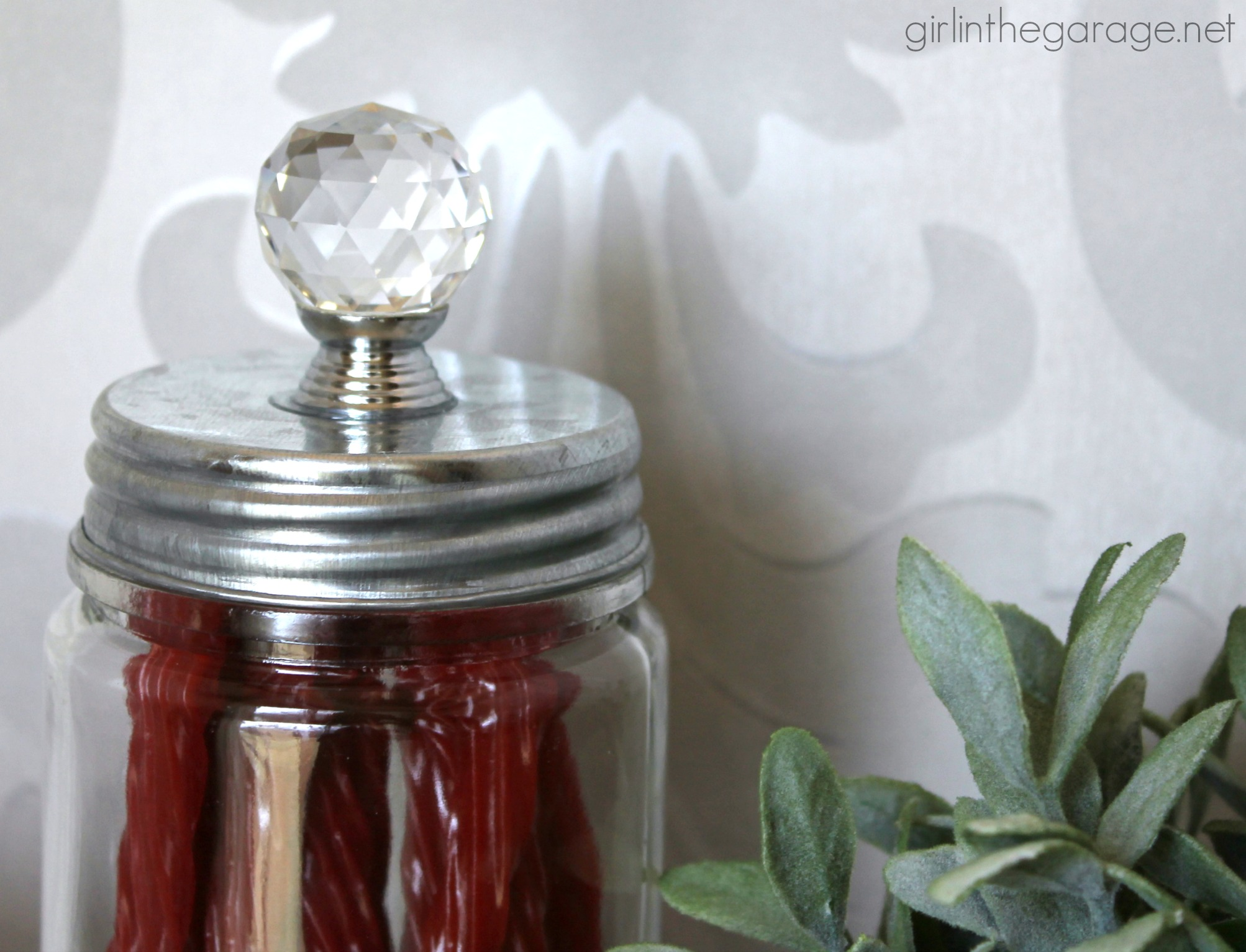 DIY Upcycled Glass Jars - so easy and cute! By Girl in the Garage