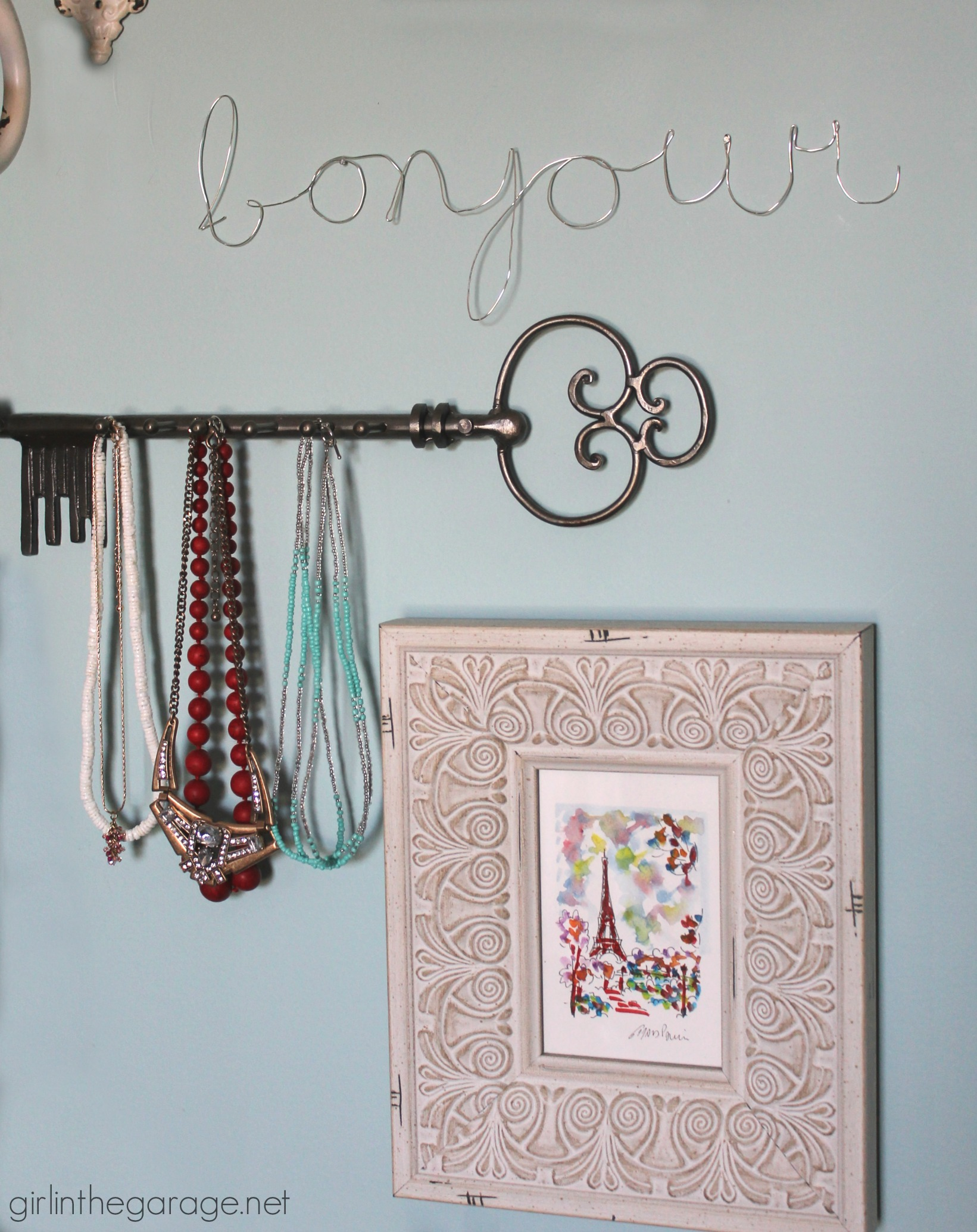 DIY jewelry wall to organize and display necklaces - by Girl in the Garage