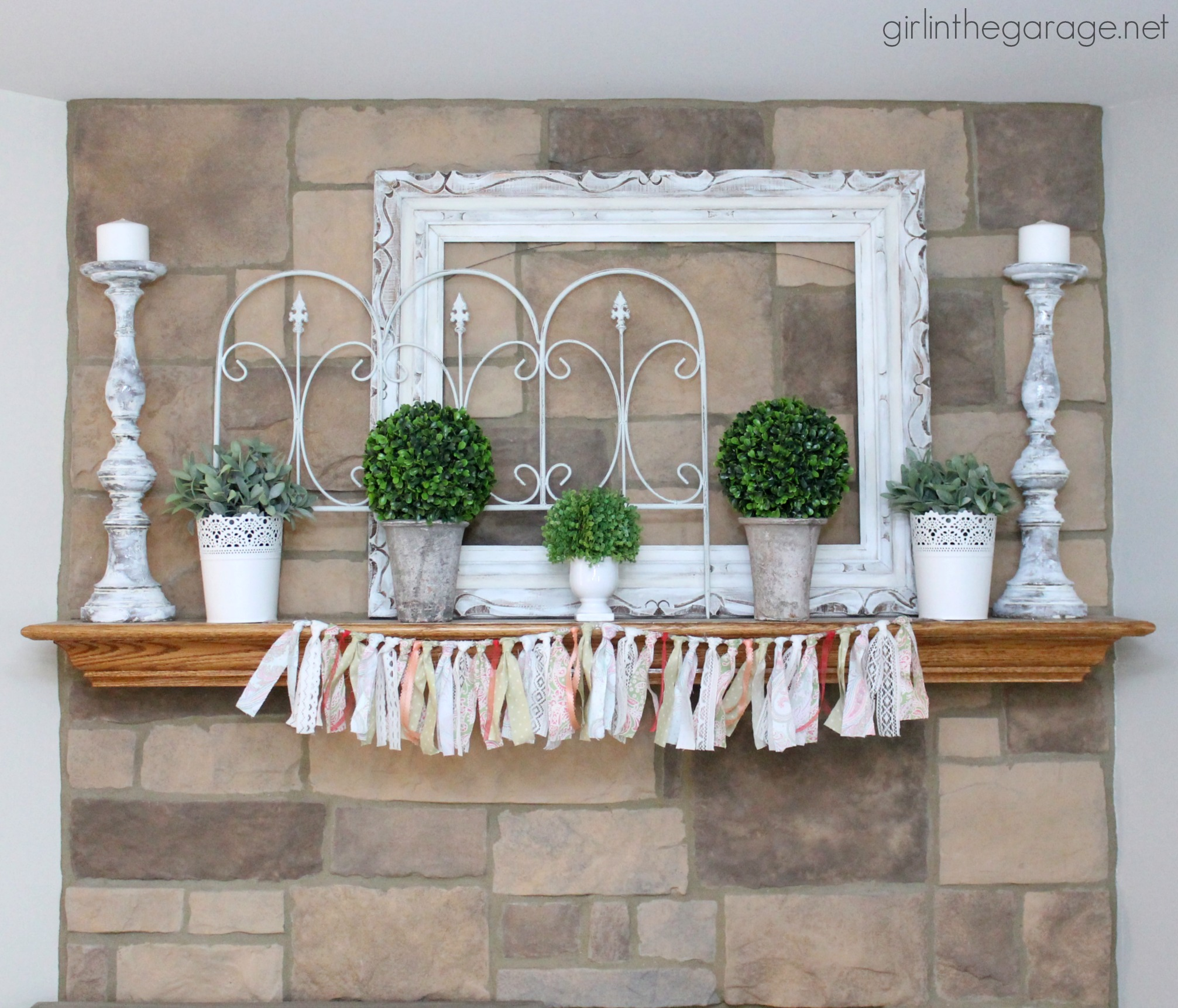 Spring Design Ideas: White And Green Spring Mantel