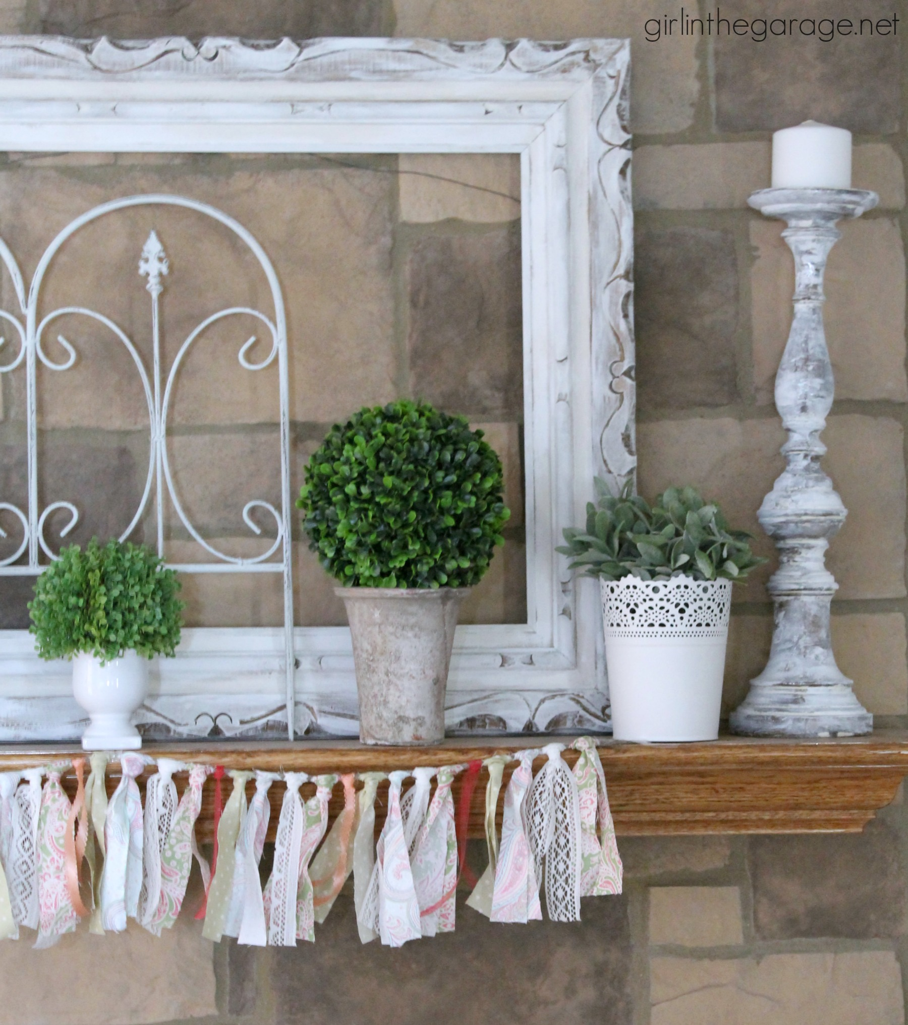 White and Green Spring Mantel - Girl in the Garage