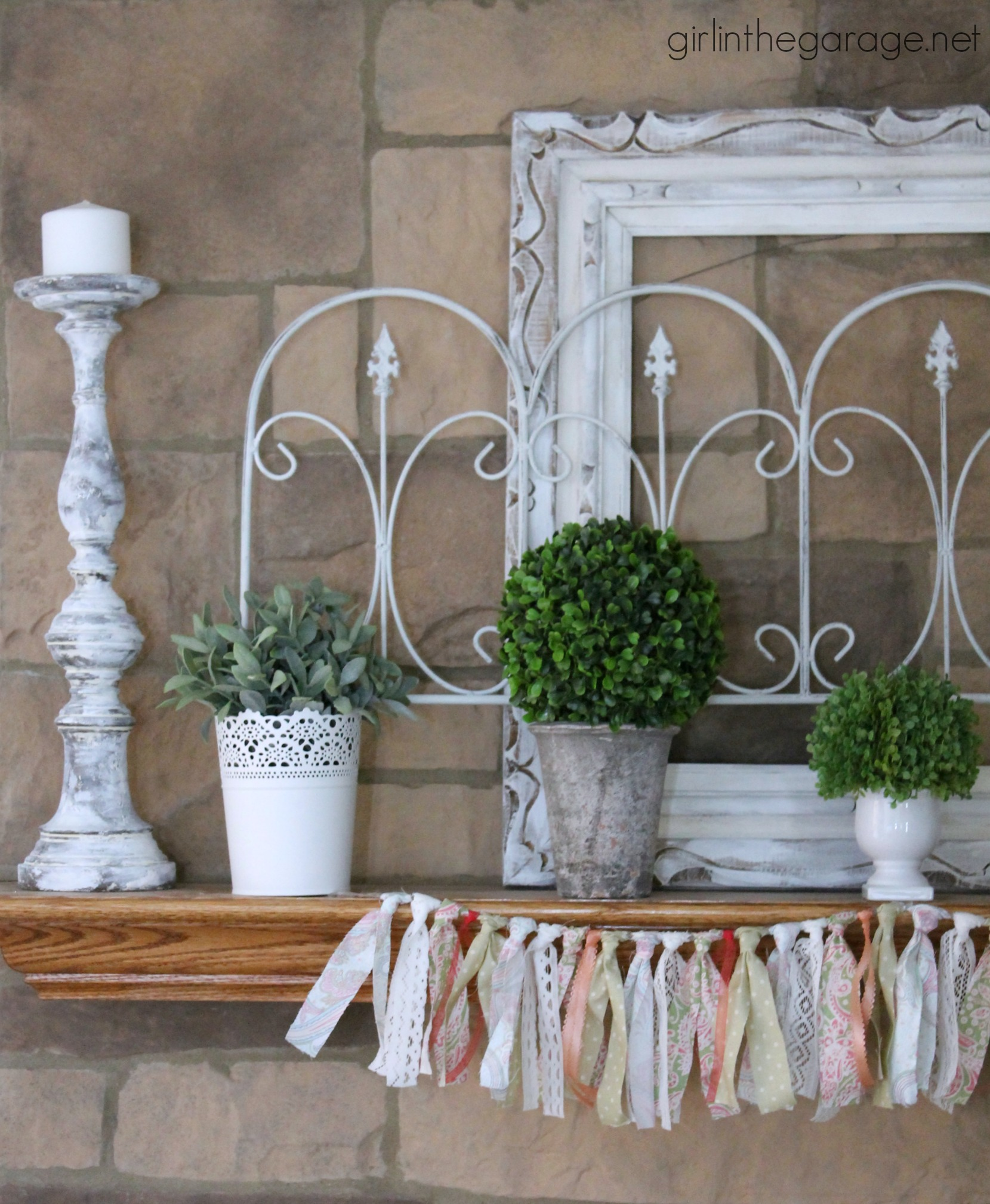 White and Green Spring Mantel | Girl in the Garage®