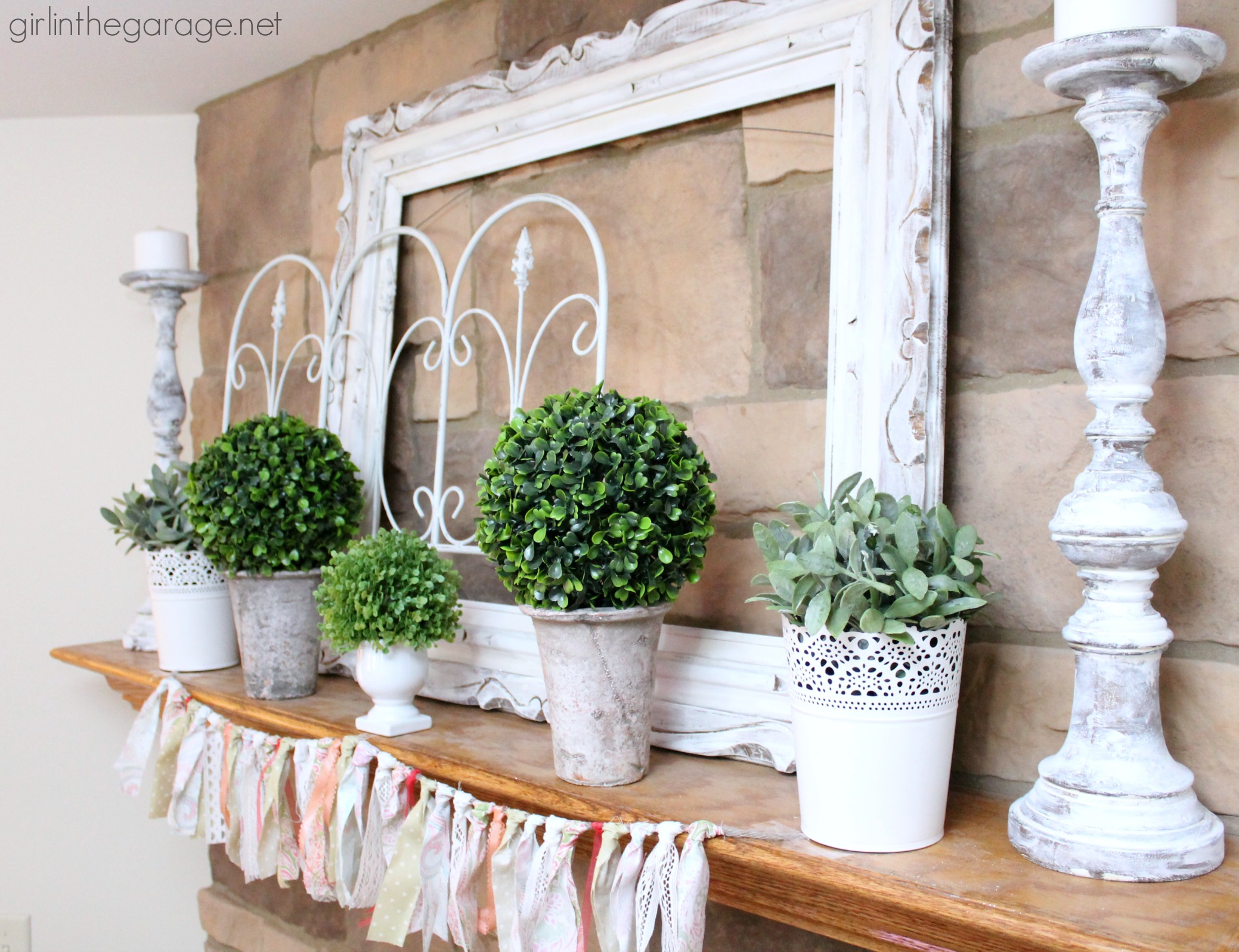 Decorating Ideas: White And Green Spring Mantel