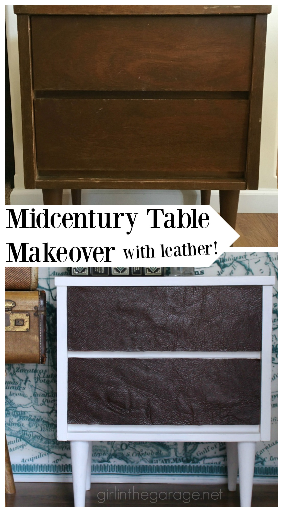 Midcentury Table Makeover with Leather (and a giveaway!) - Girl in the Garage