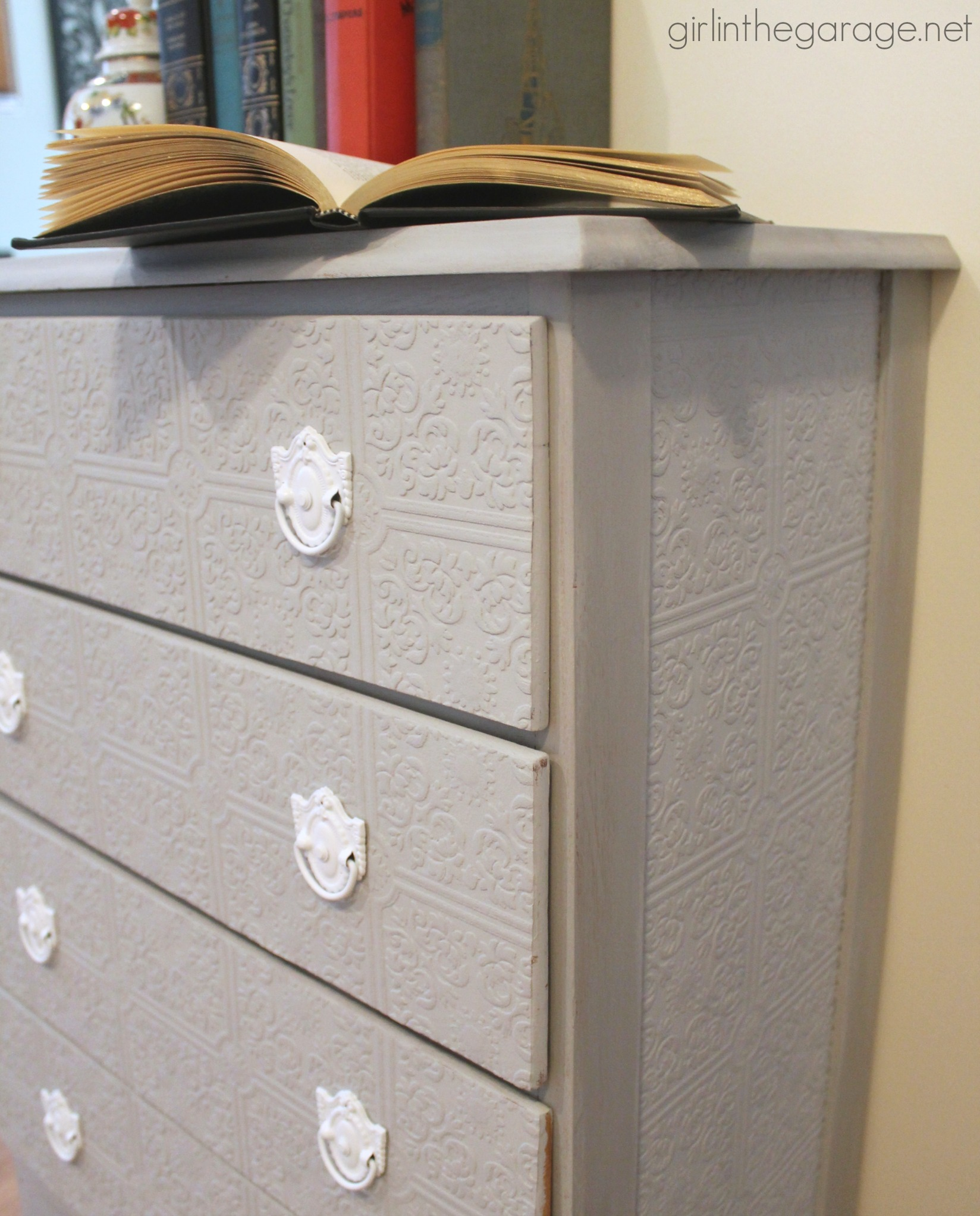 How To Update A Dresser With Paintable Wallpaper By In The Garage
