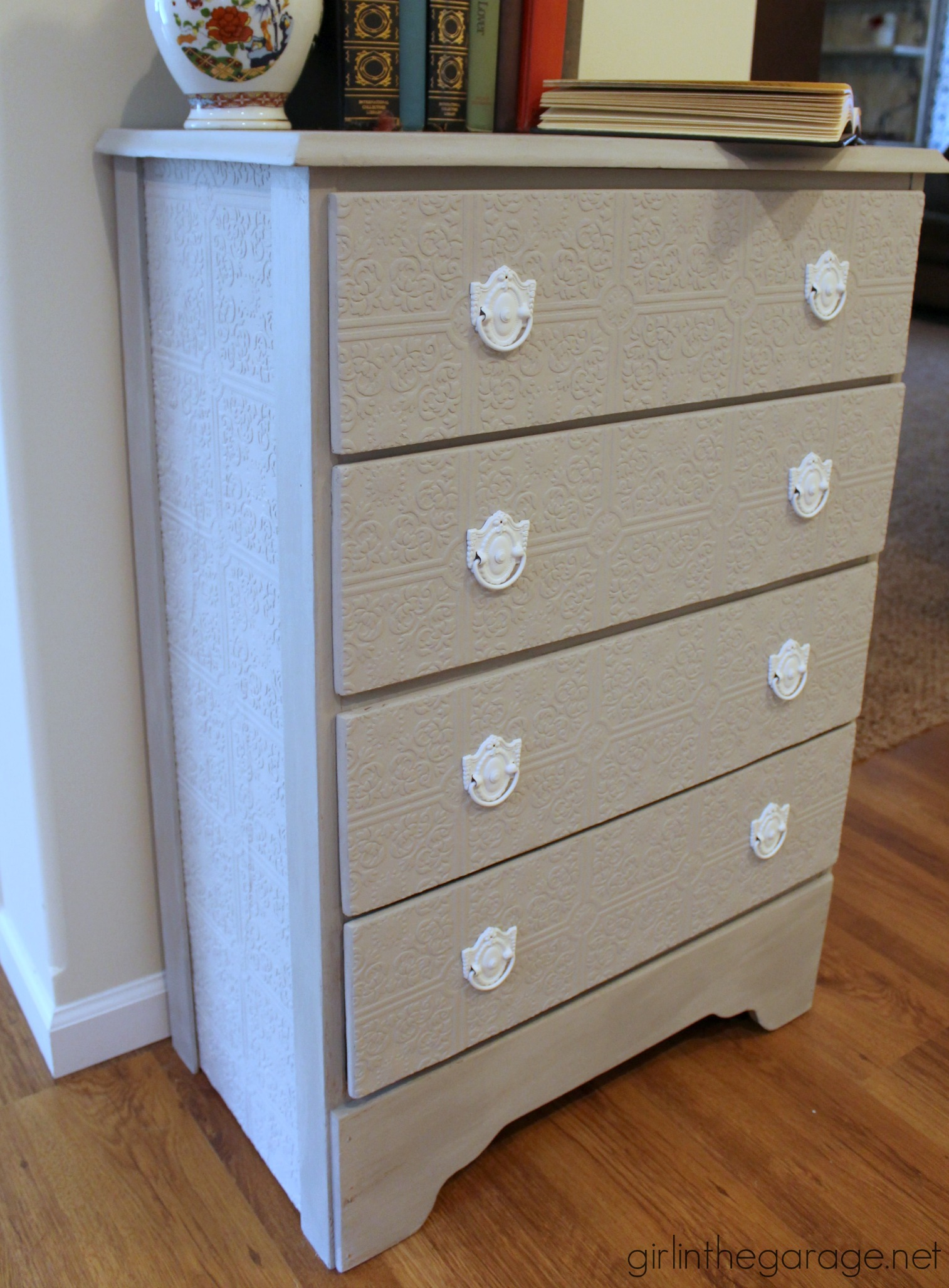 how to update a dresser with paintable wallpaper girl in the garage. Black Bedroom Furniture Sets. Home Design Ideas