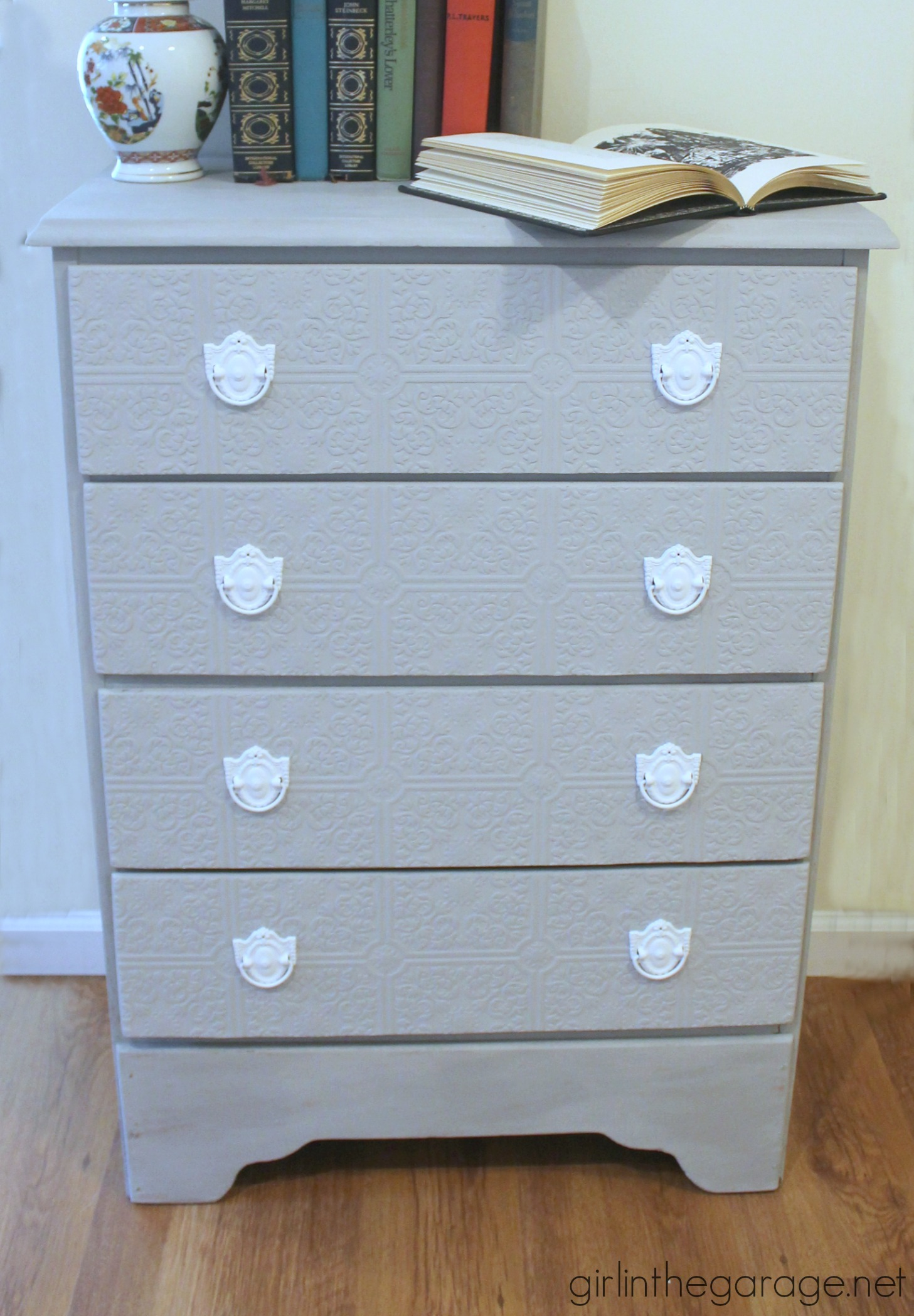 How to update a dresser with paintable wallpaper - by Girl in the Garage