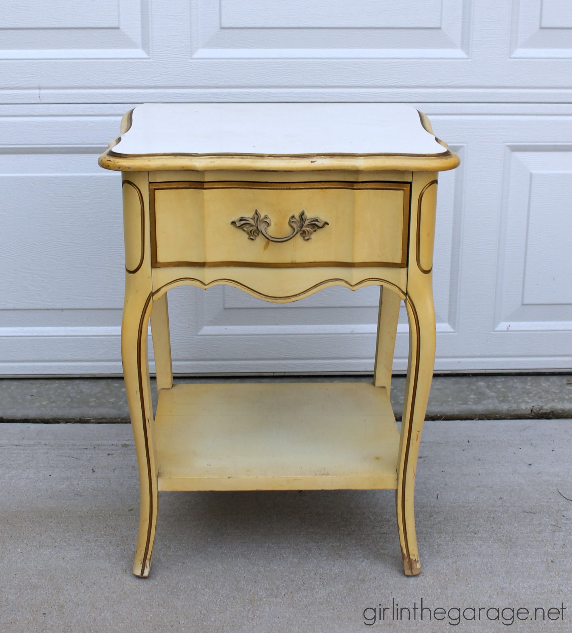 (Before) 70s French Provincial nightstand makeover to stunning metallic beauty - by Girl in the Garage