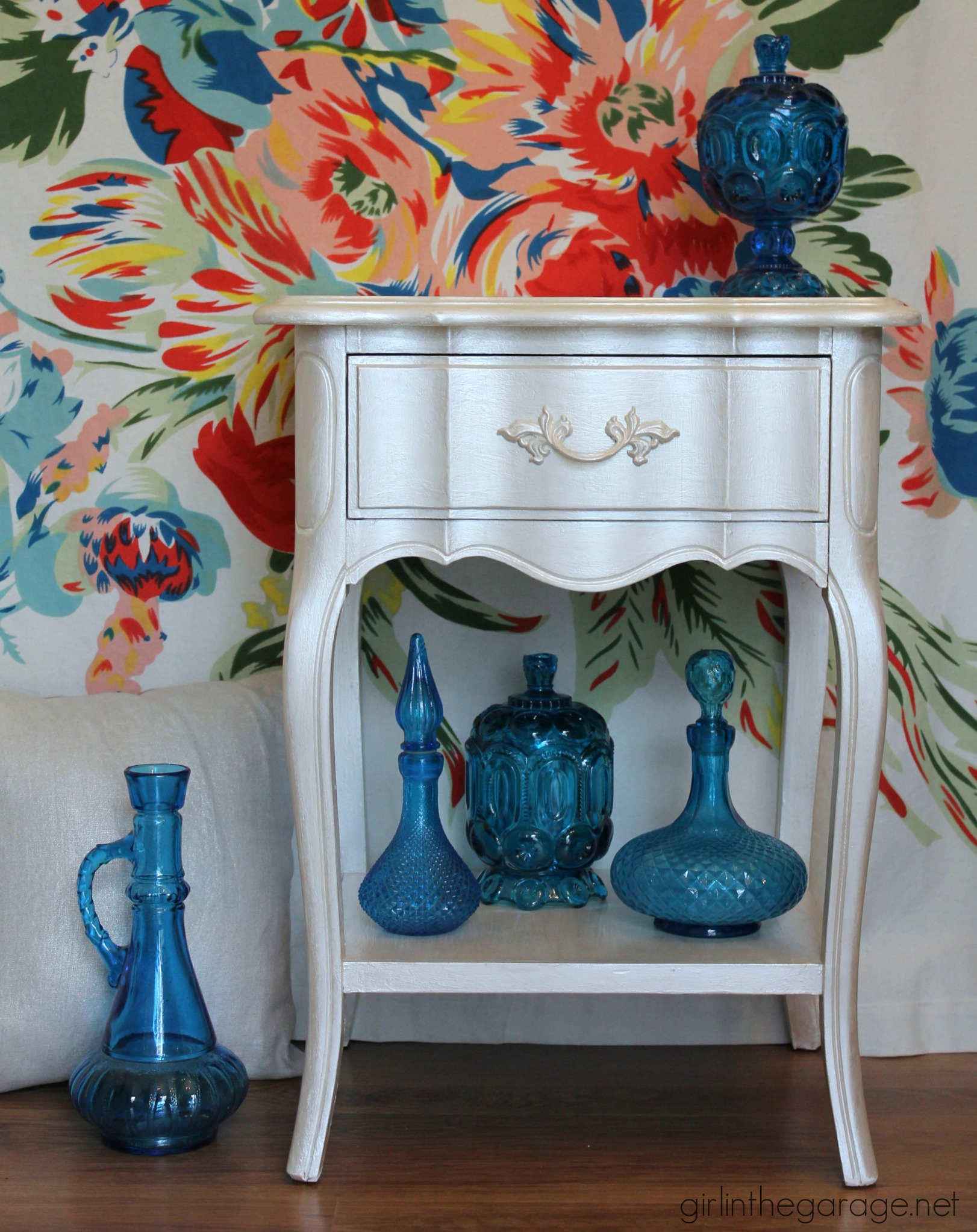 Metallic French Provincial Nightstand Makeover - Girl in the Garage