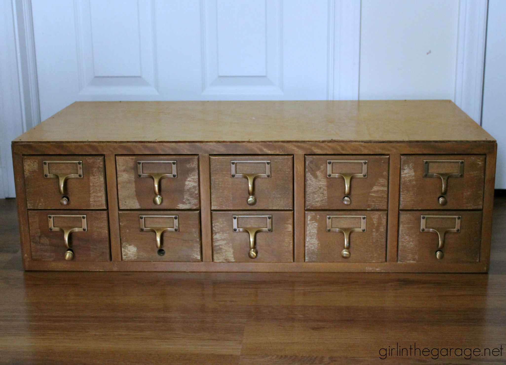 Vintage Card Catalog - Girl in the Garage