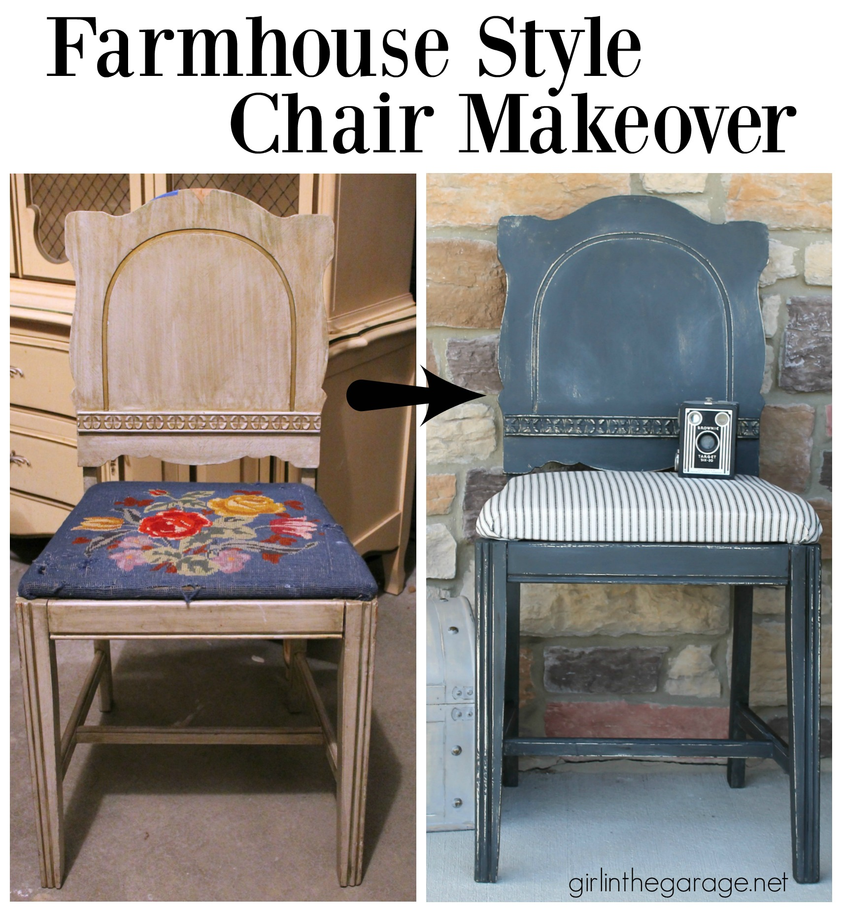 Farmhouse Chair Makeover with Chalk Paint and Ticking Fabric - Girl in the Garage