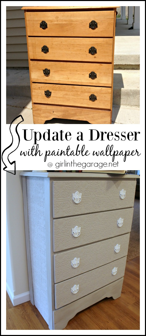 How To Update A Dresser With Paintable Wallpaper Girl In