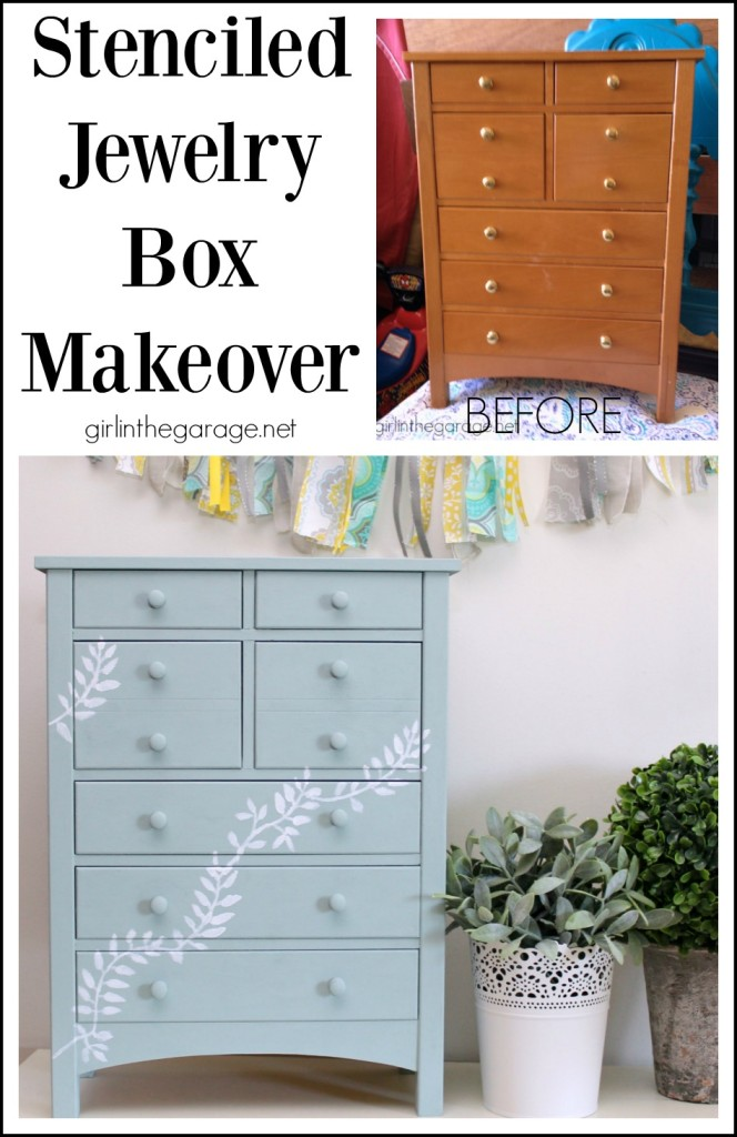Stenciled painted jewelry box makeover - Girl in the Garage