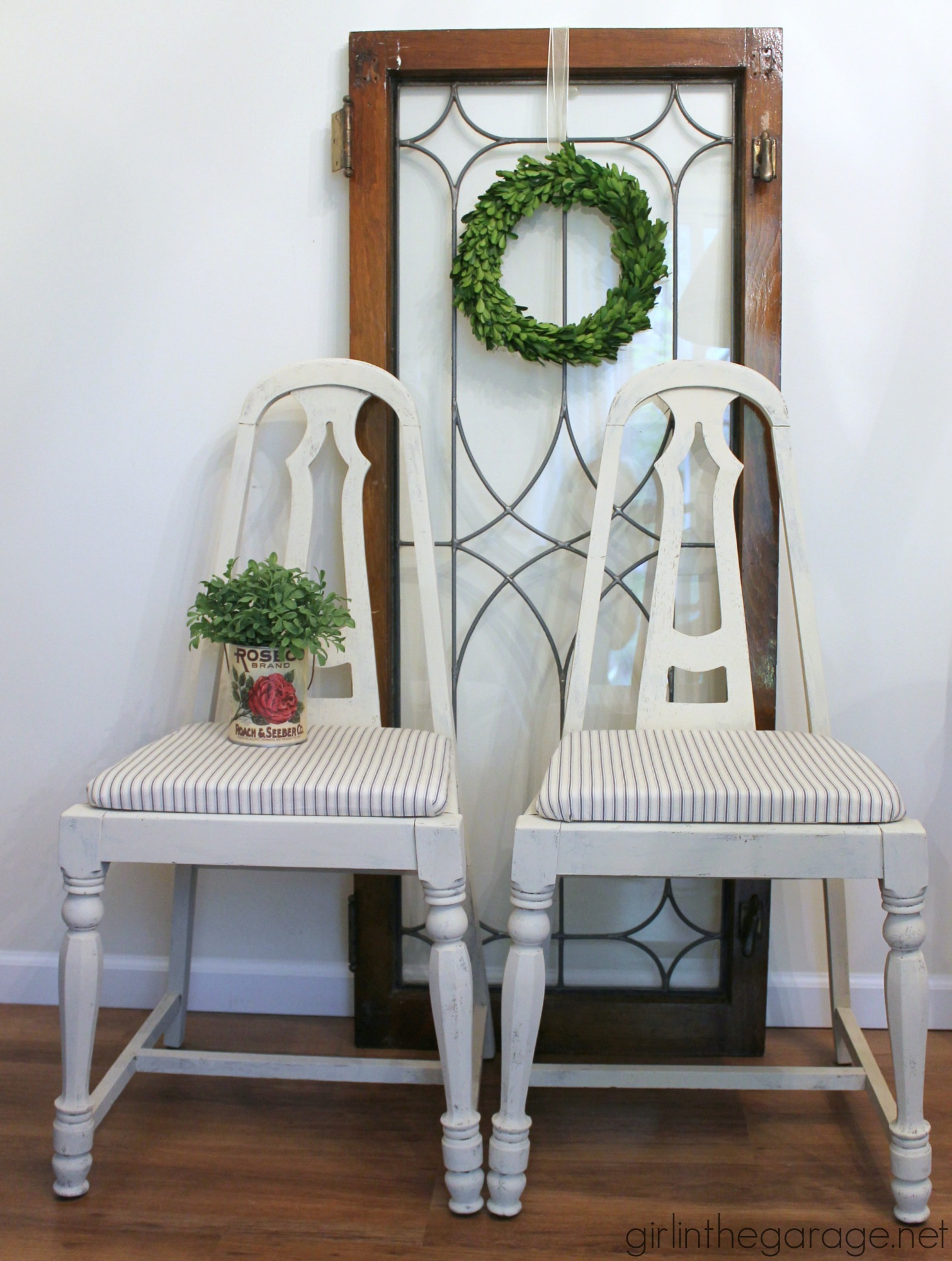 Thrifted farmhouse chairs (recovered in an old skirt!) - by Girl in the Garage