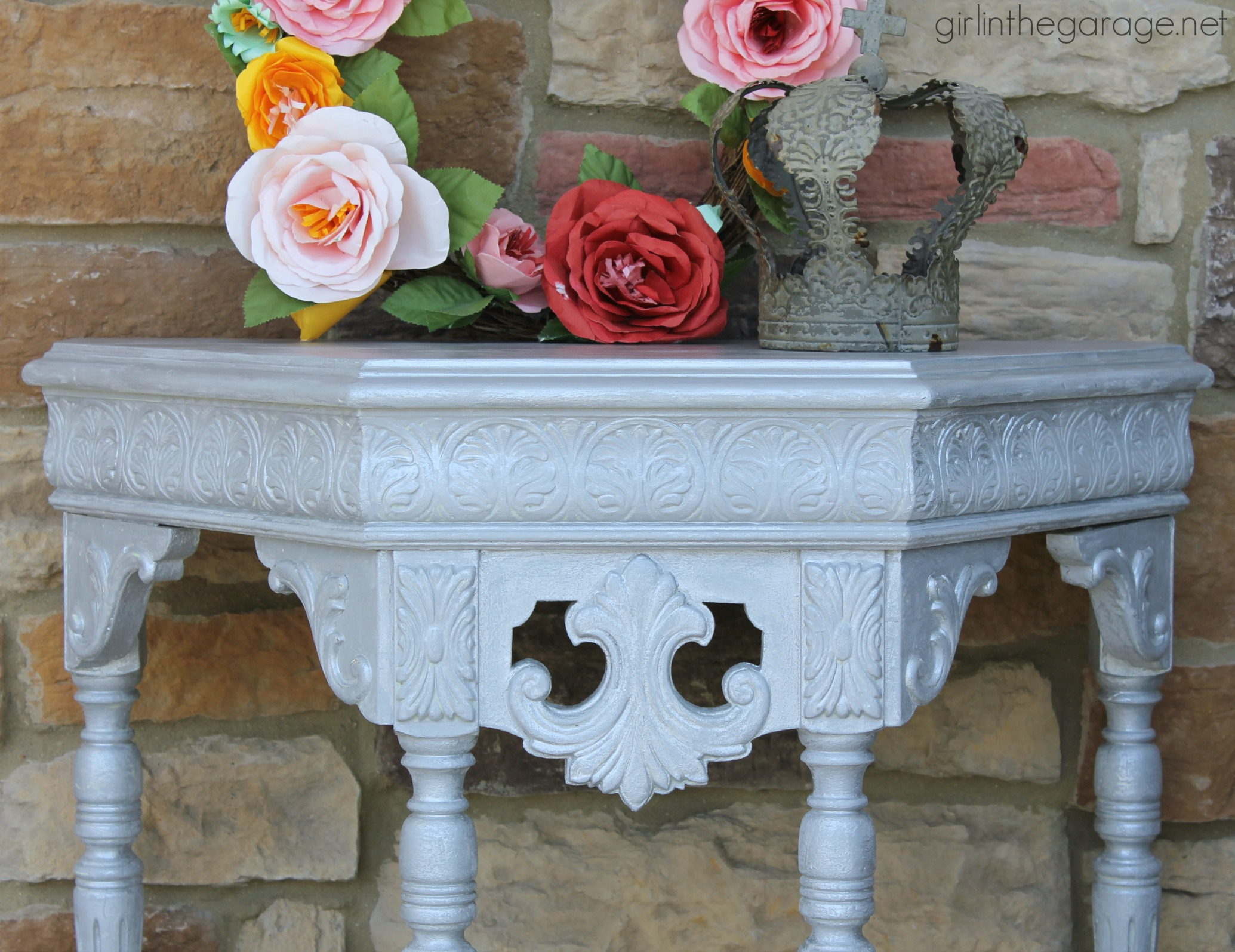 Fancy platinum table makeover in Modern Masters metallic paint. By Girl in the Garage