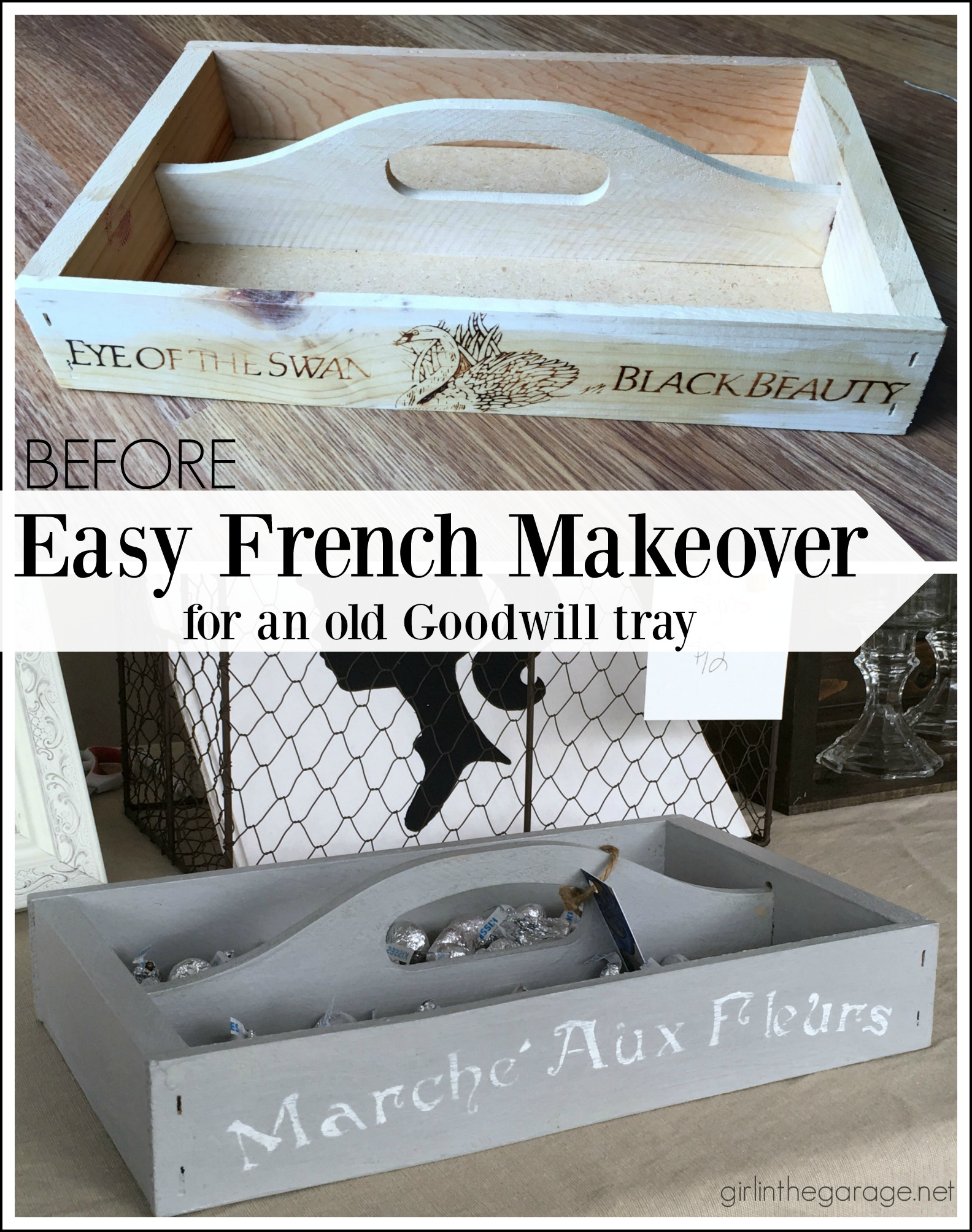 Goodwill wood tray gets a French makeover - by Girl in the Garage