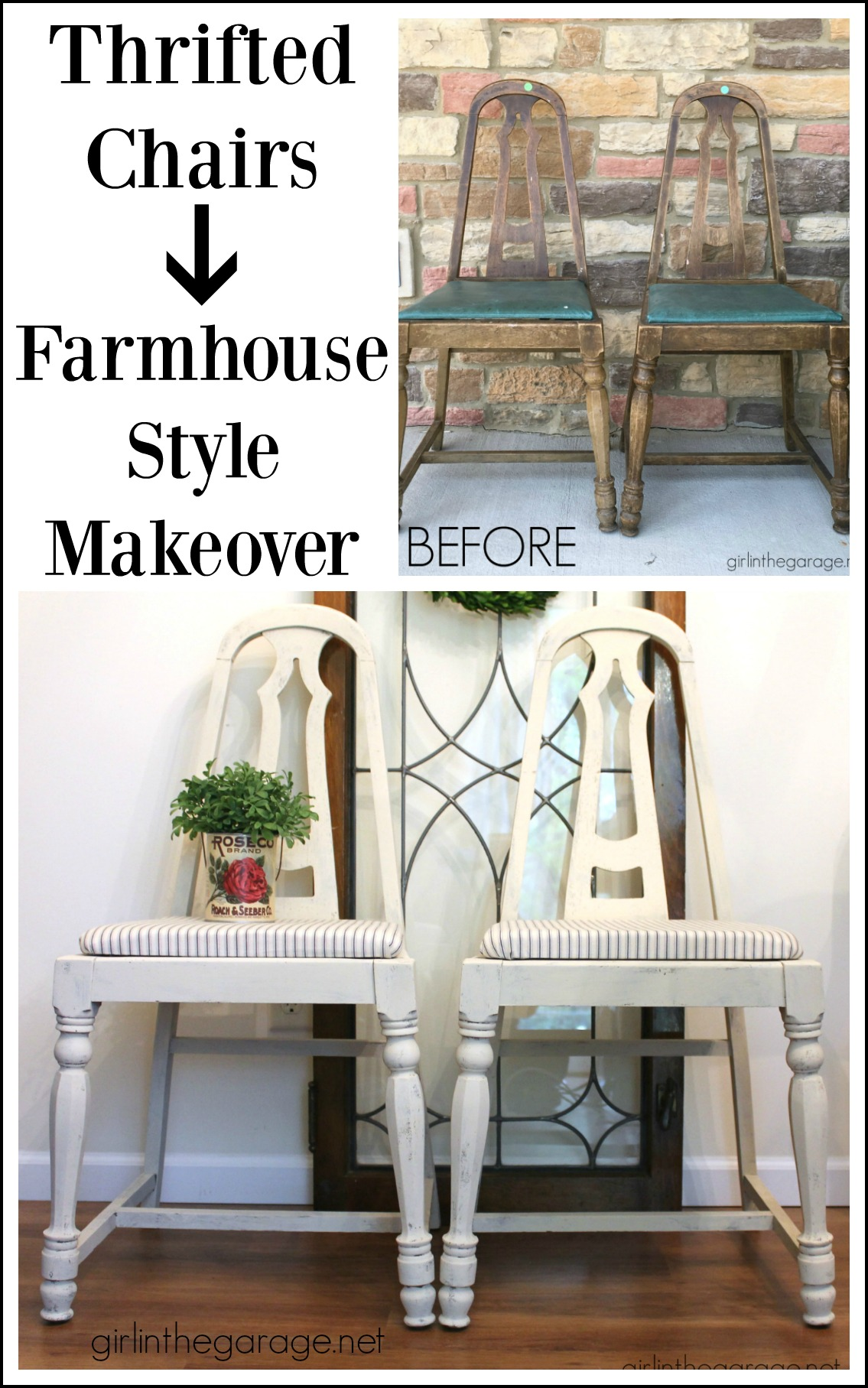 thrifted farmhouse chairs trash to treasure makeover girl in the
