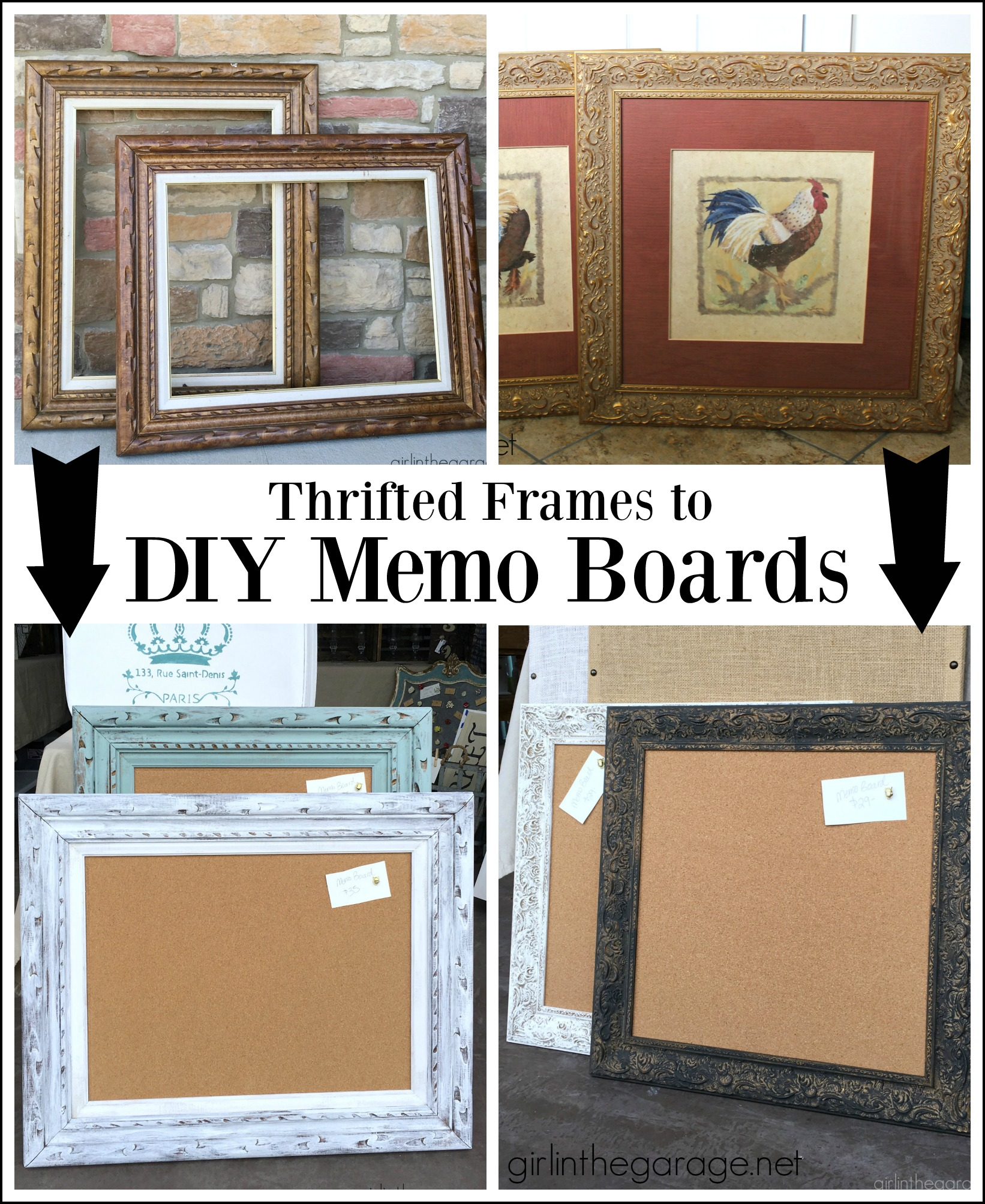 Thrifted art upcycled to DIY memo boards - Love this idea! By Girl in the Garage