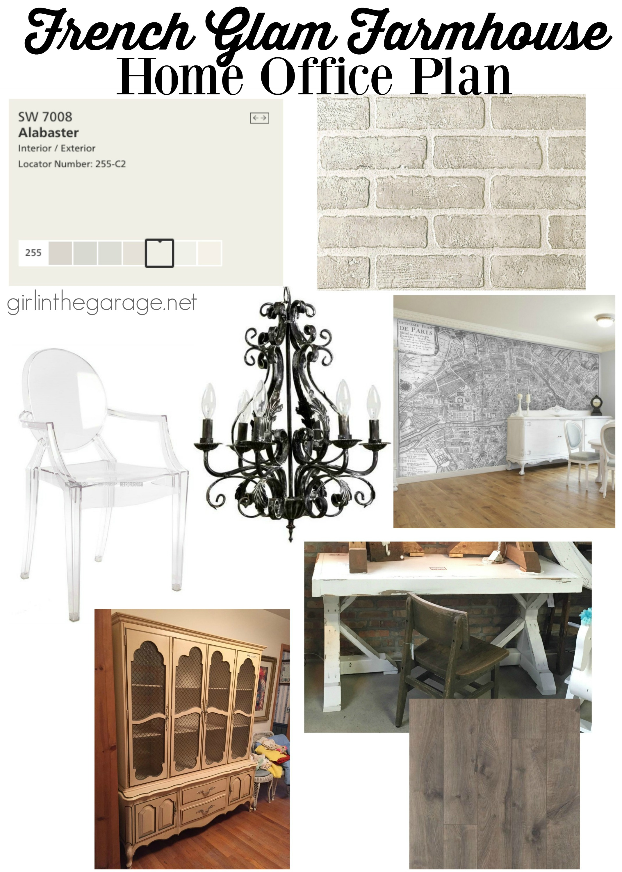 French Glam Farmhouse Home Office Design Plan - Girl in the Garage