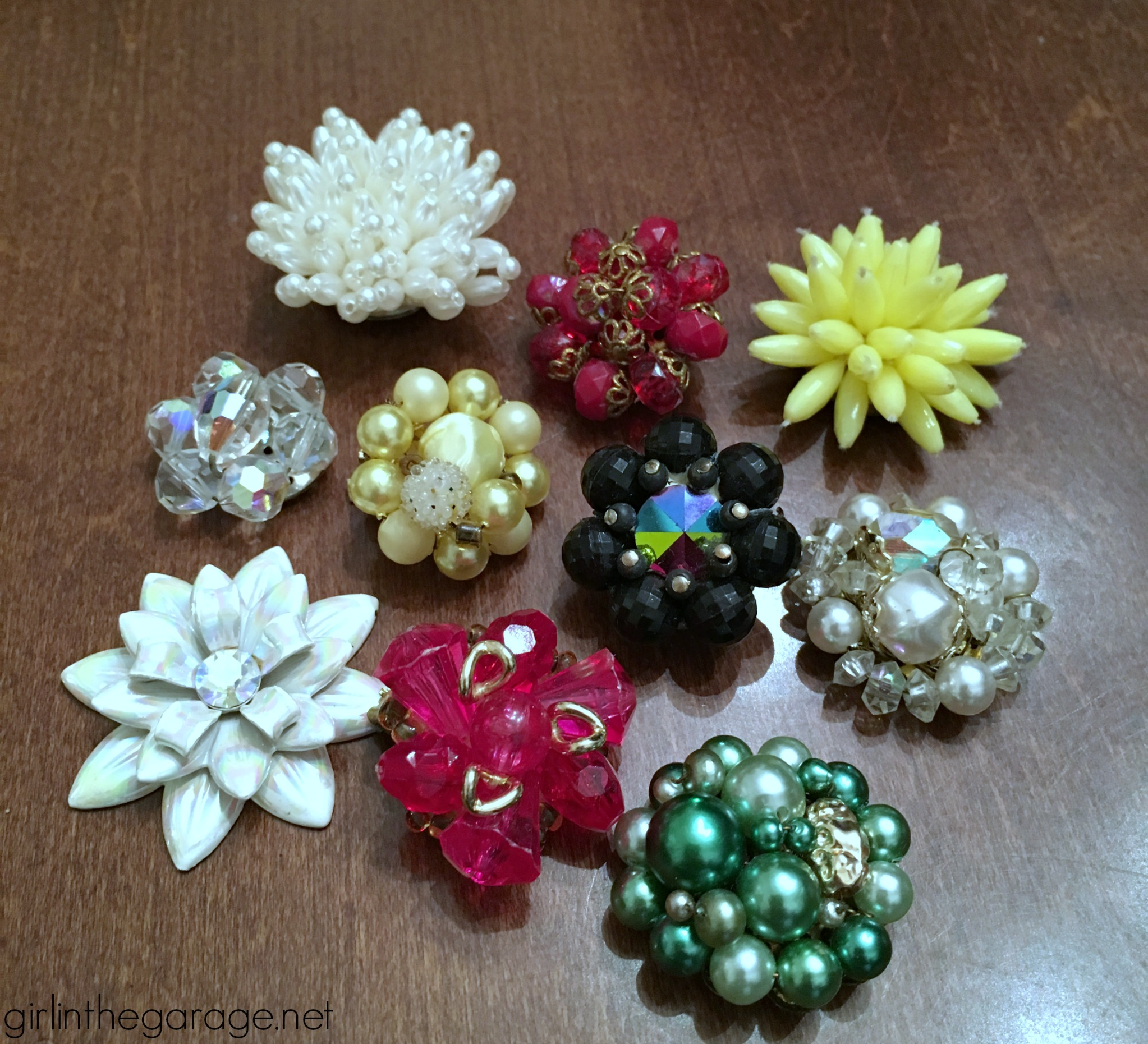 How to make vintage repurposed earring magnets - easy DIY tutorial by Girl in the Garage