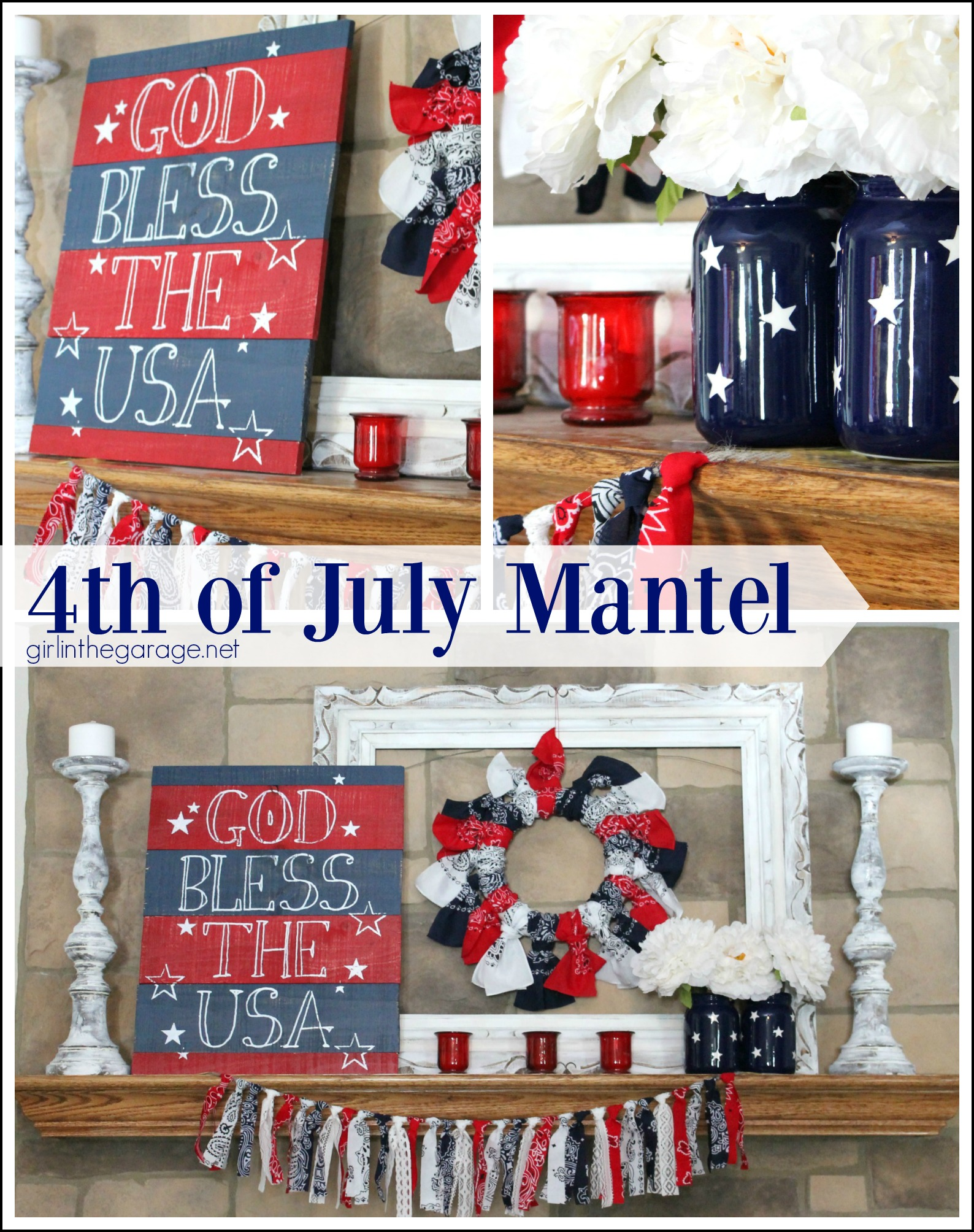Red, white, and blue 4th of July mantel - Girl in the Garage