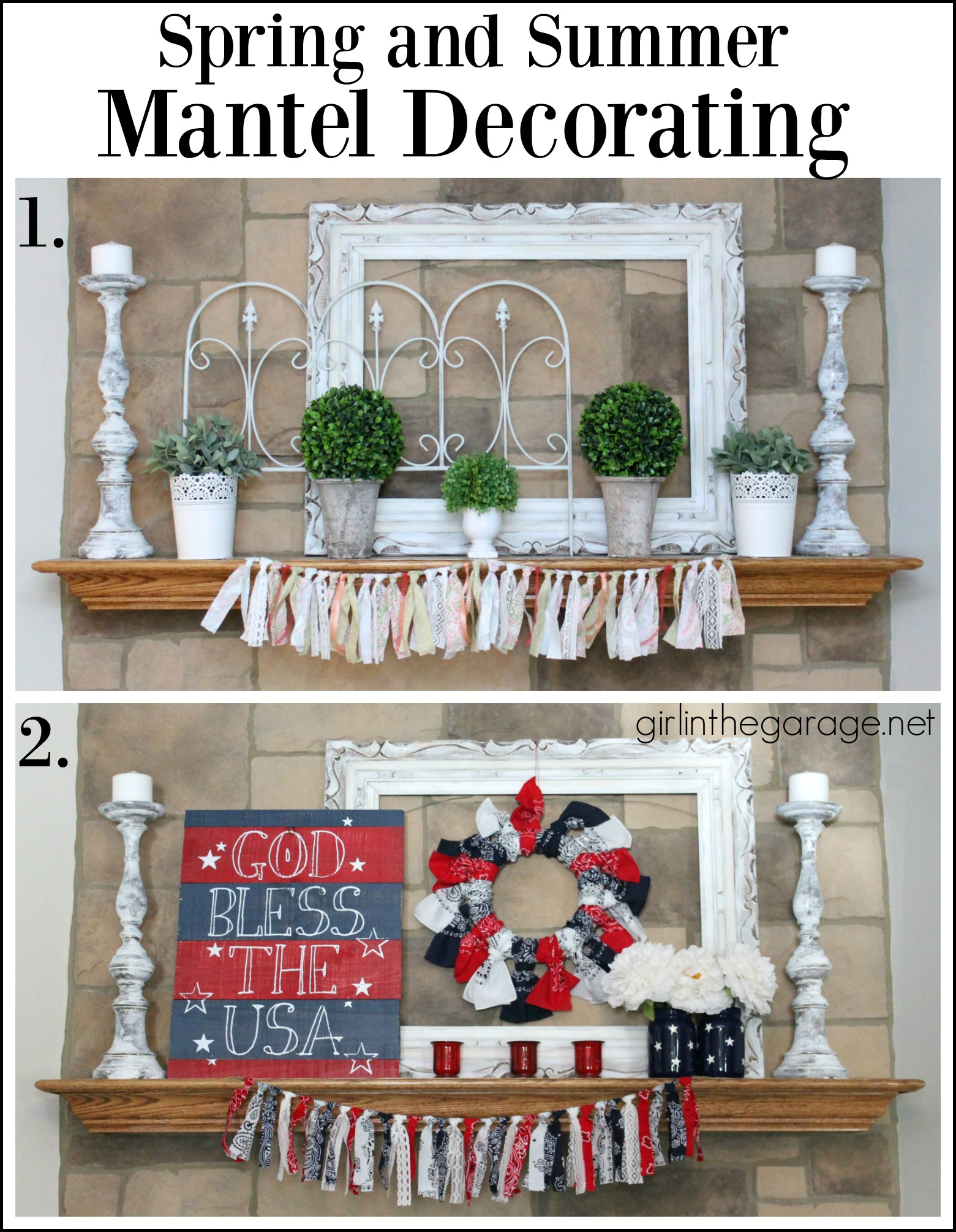 Spring and summer mantel decorating - Girl in the Garage