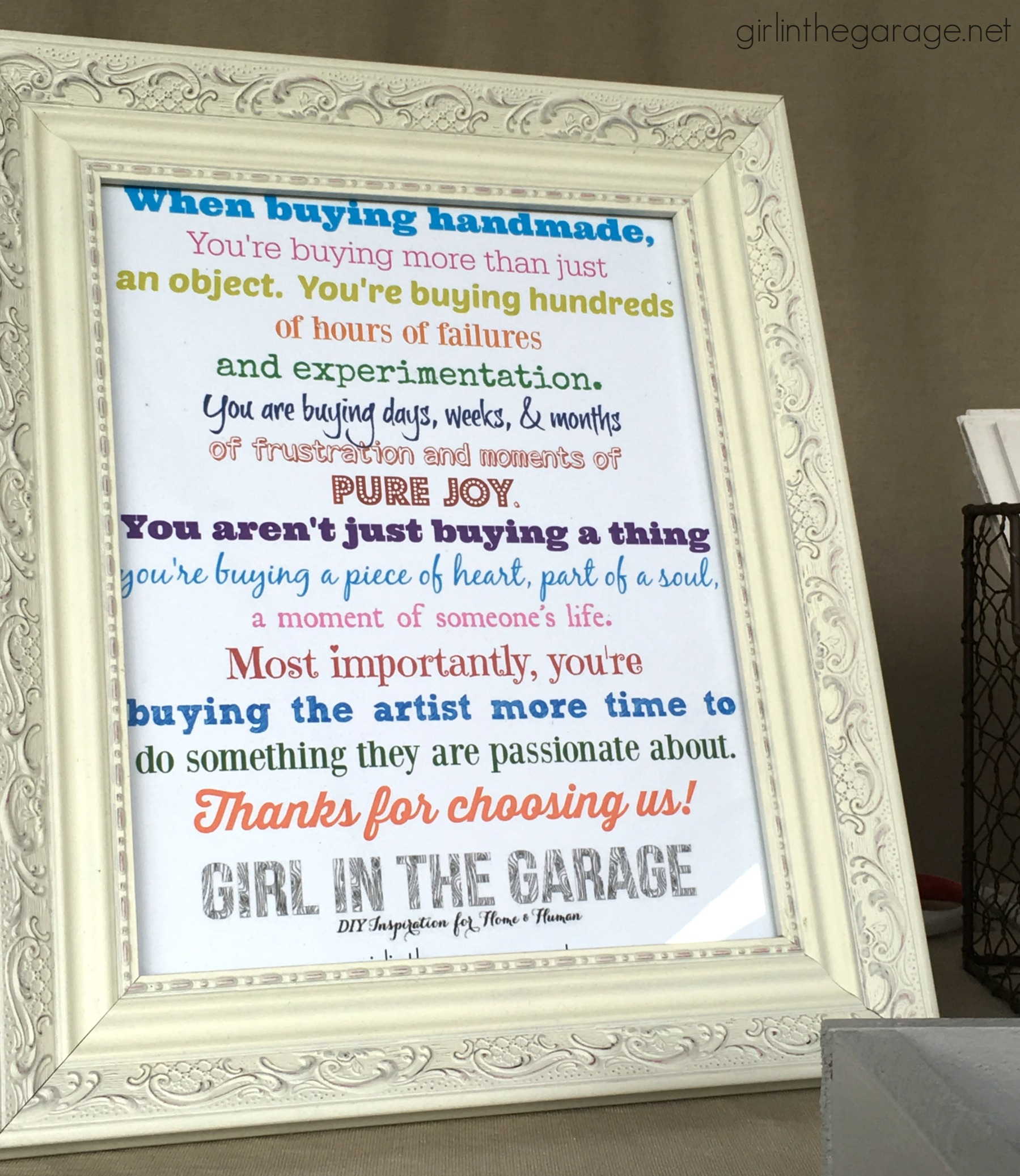 Free printable handmade/small business sign - Girl in the Garage