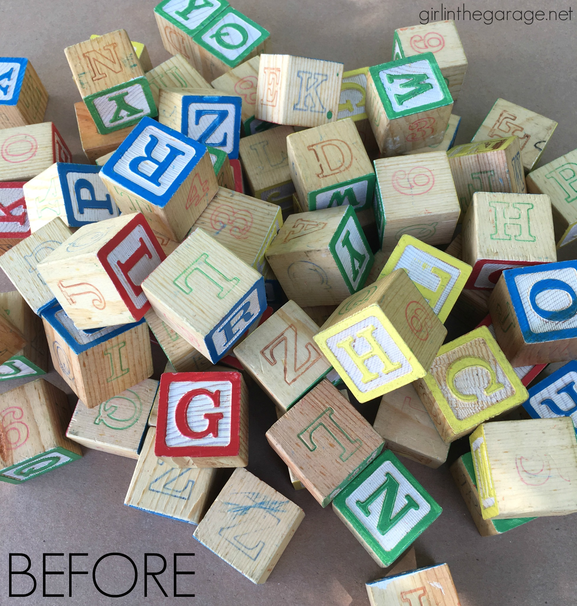 Upcycled painted alphabet blocks - Trash to treasure - Girl in the Garage