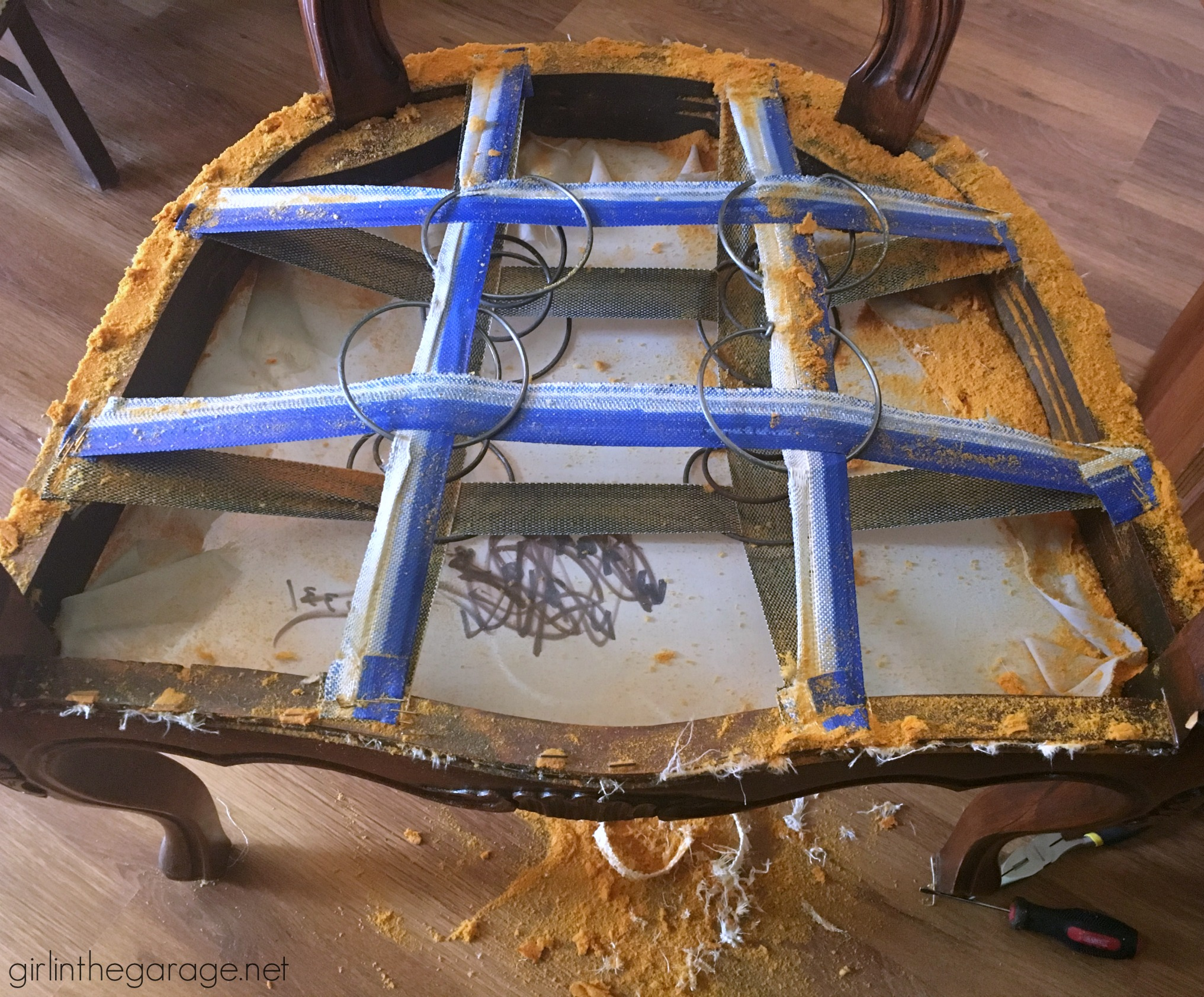 Current Projects: Lumpy Antique Chair - Girl in the Garage