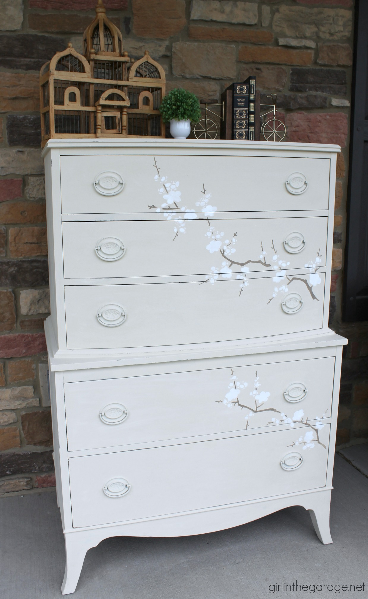 How to get this gorgeous cherry blossom look on your next furniture makeover! By Girl in the Garage