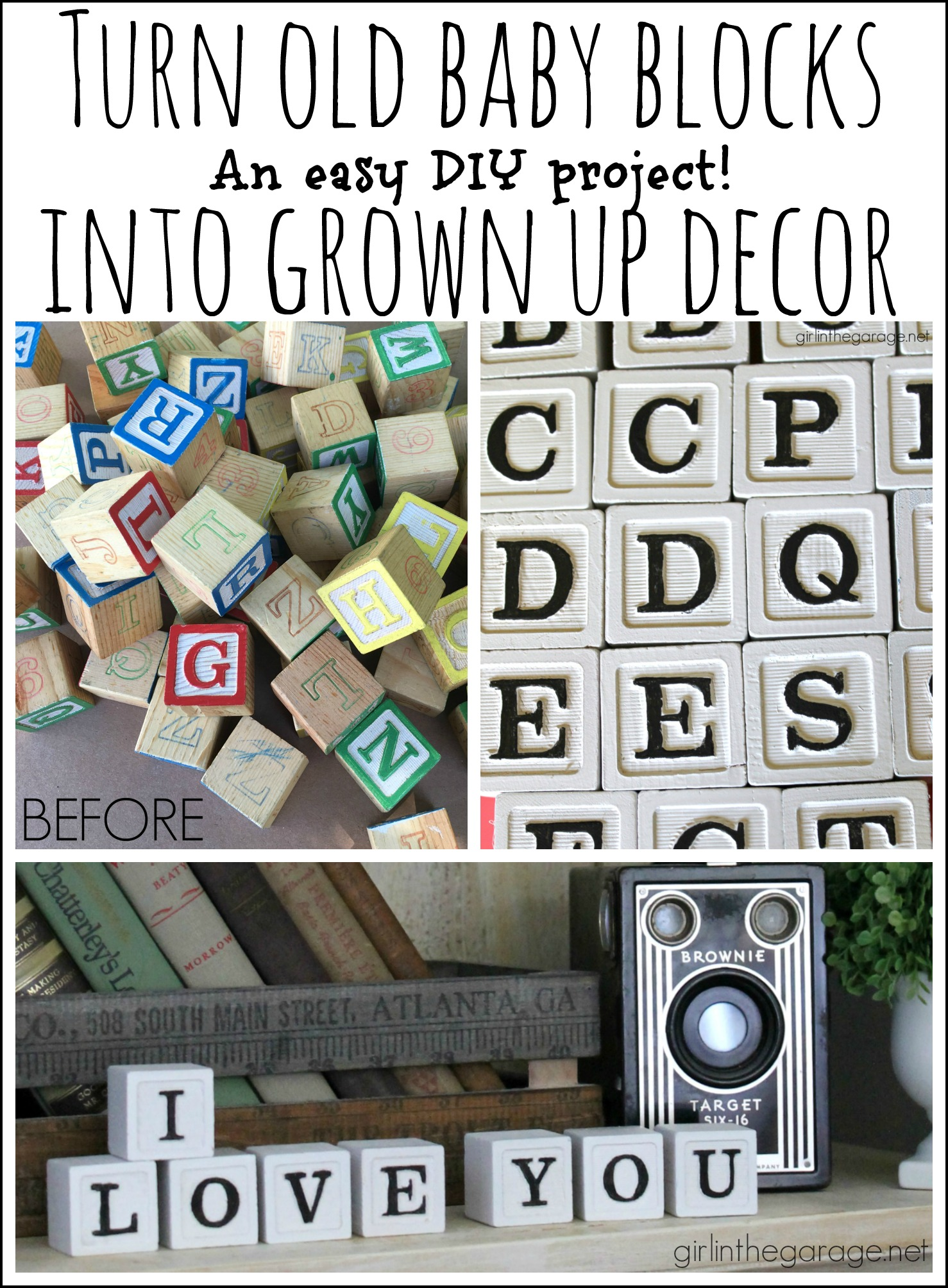 Upcycle baby blocks tutorial - Girl in the Garage