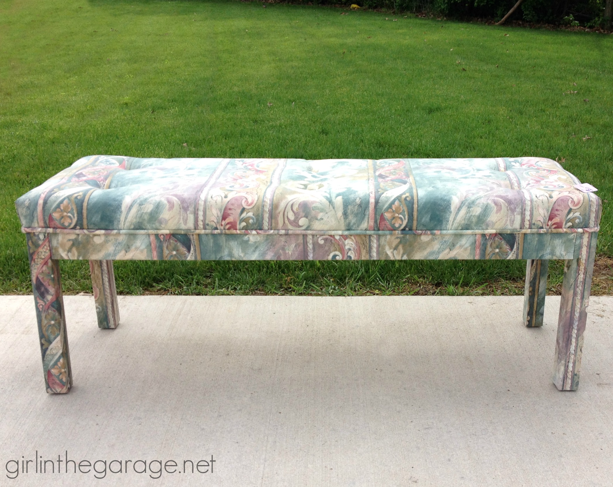 Tacky thrifted bench makeover - Before