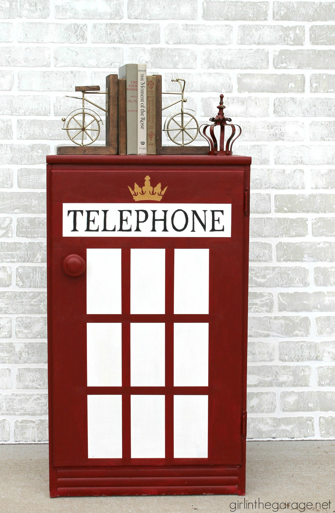 London Phone Booth Cabinet Makeover - Girl in the Garage